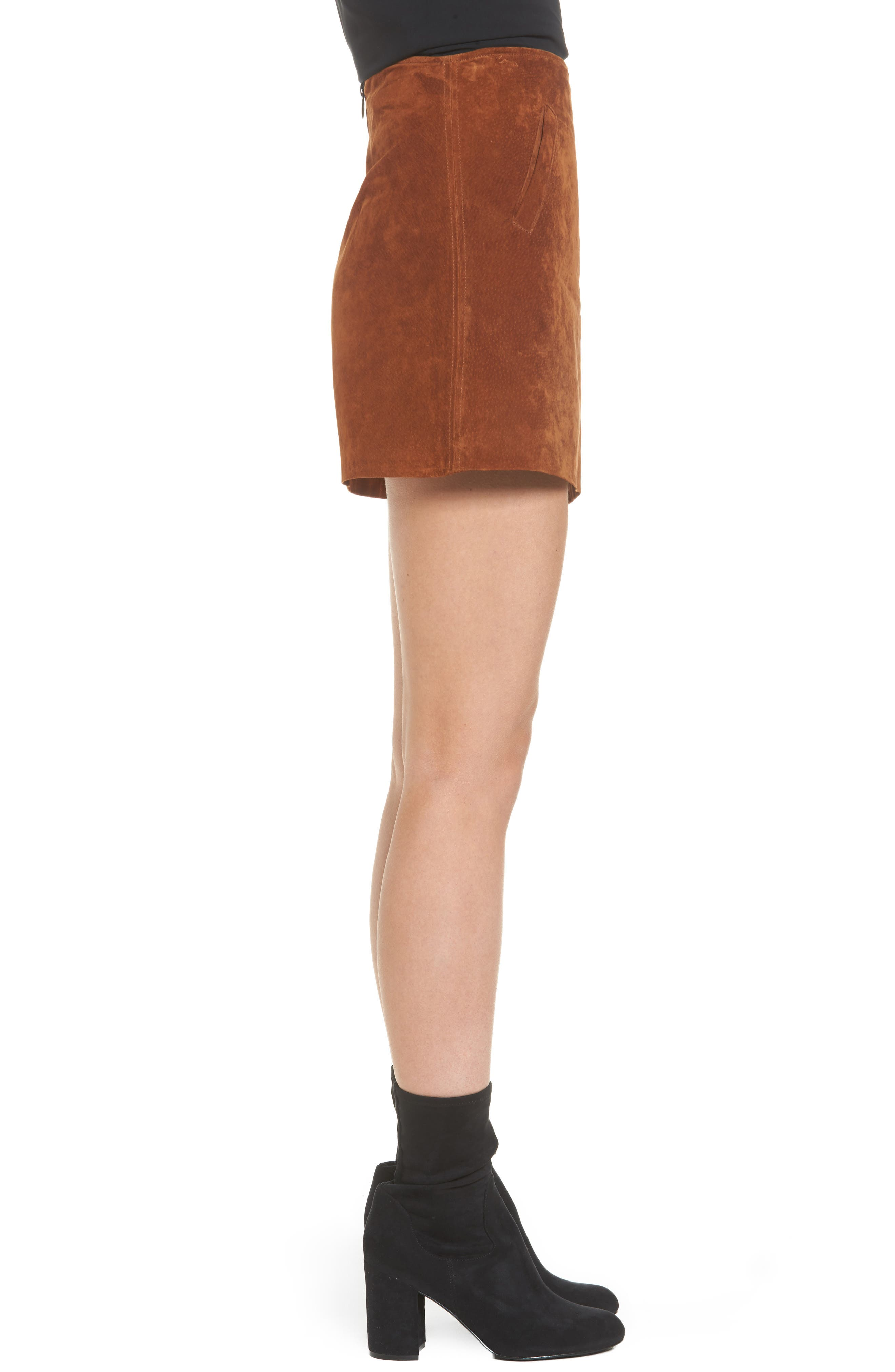 Suede Miniskirt,                             Alternate thumbnail 3, color,                             Spice