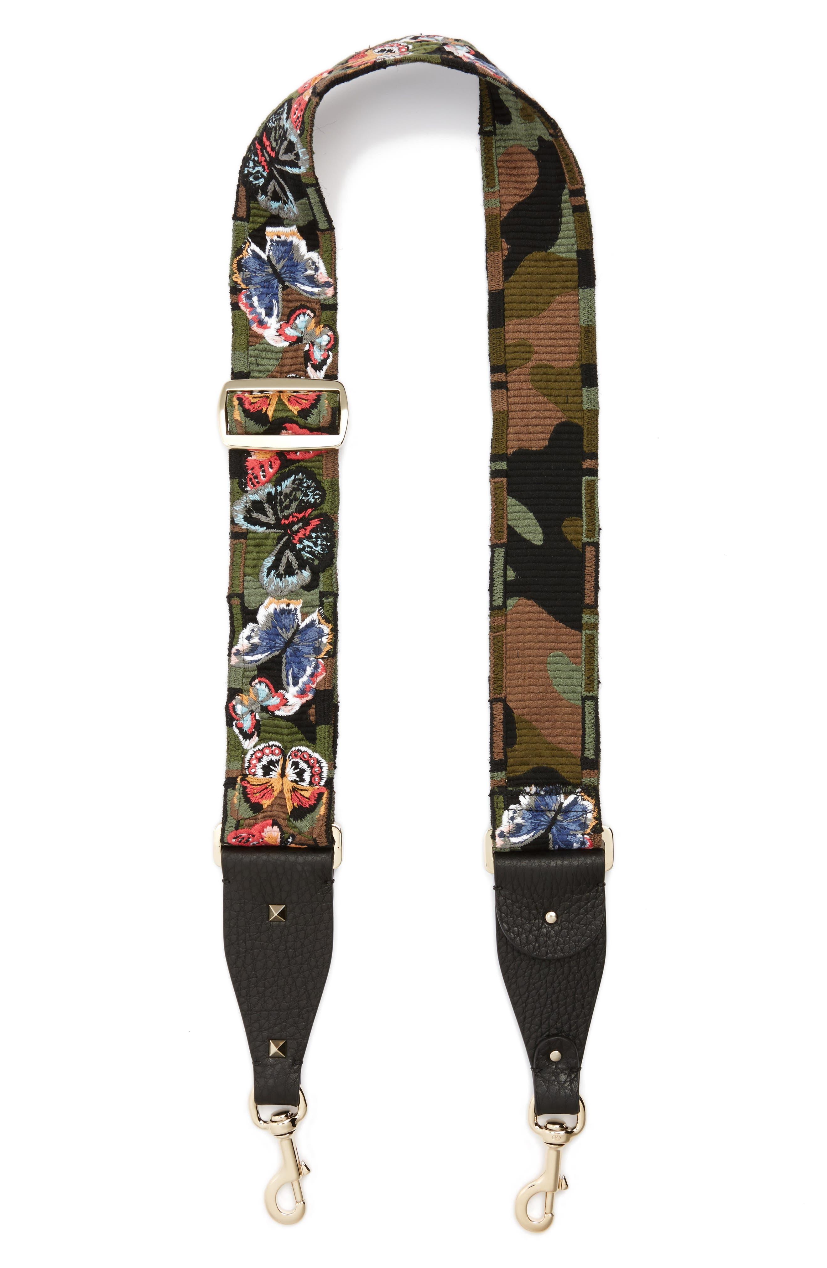 VALENTINO GARAVANI Embroidered Butterfly Rockstud Leather Guitar Strap