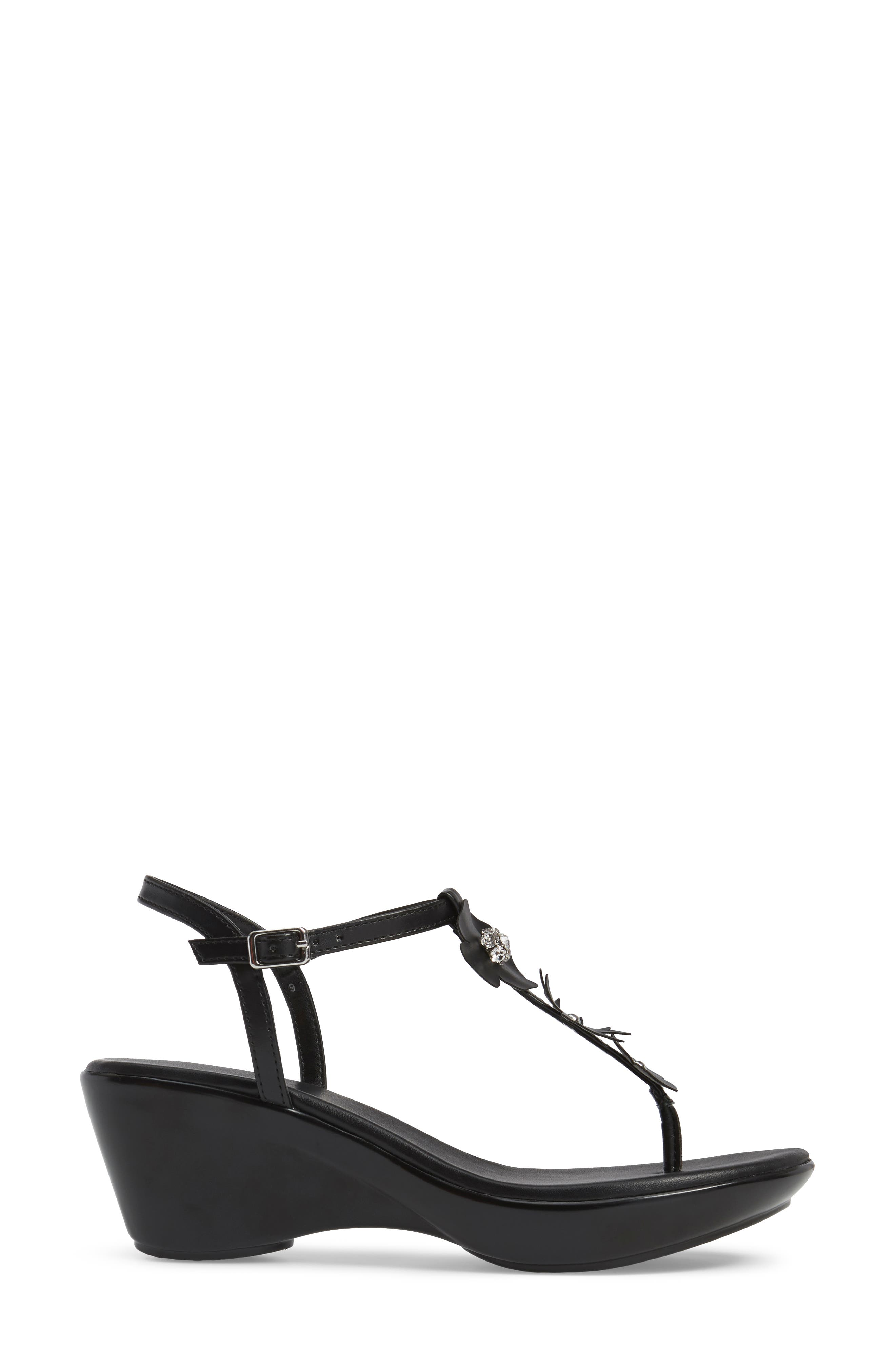 Gianna Embellished T-Strap Wedge,                             Alternate thumbnail 3, color,                             Black Faux Leather