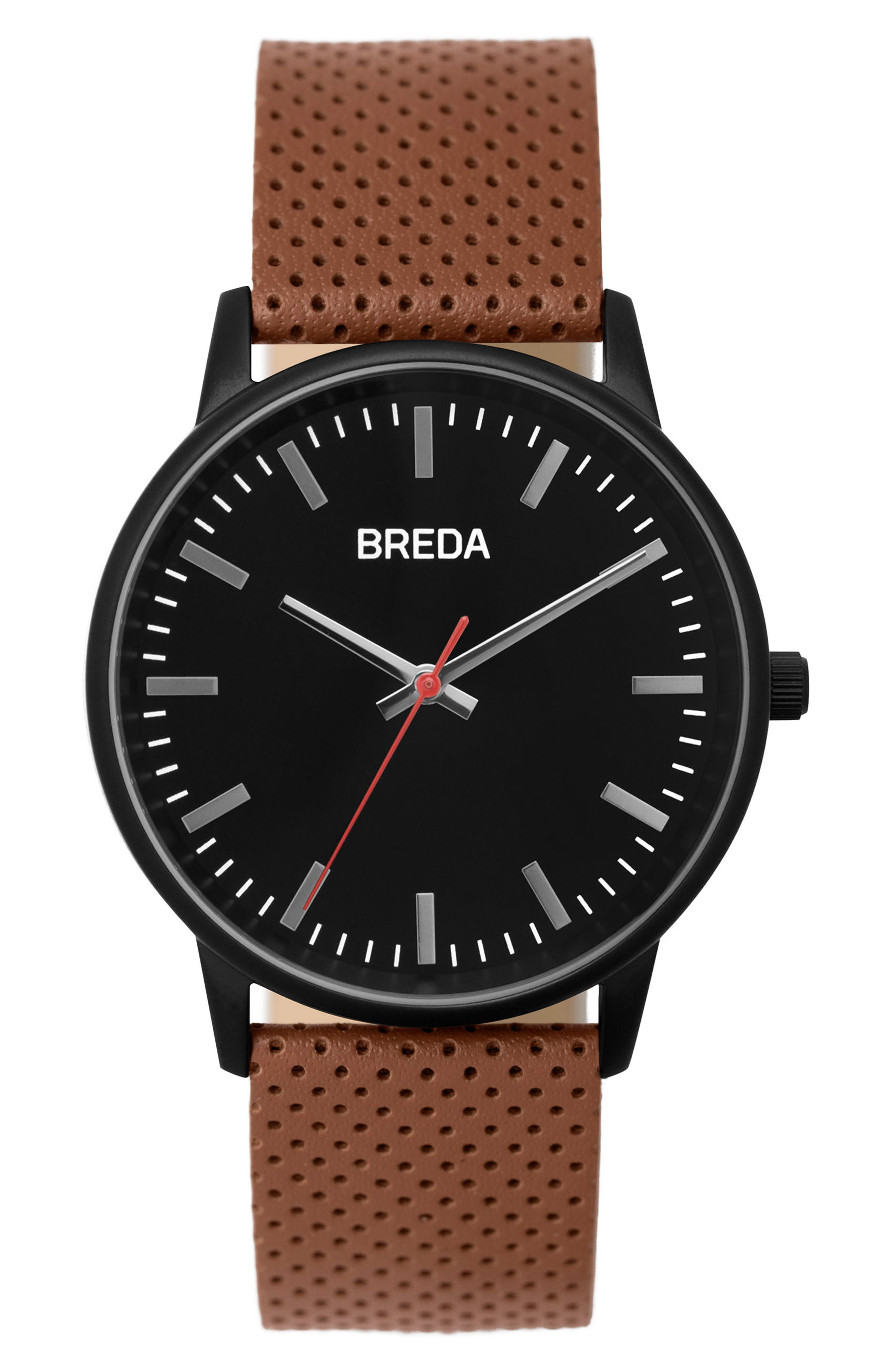 Zapf Round Perforated Leather Strap Watch, 39mm,                         Main,                         color, Black/ Brown