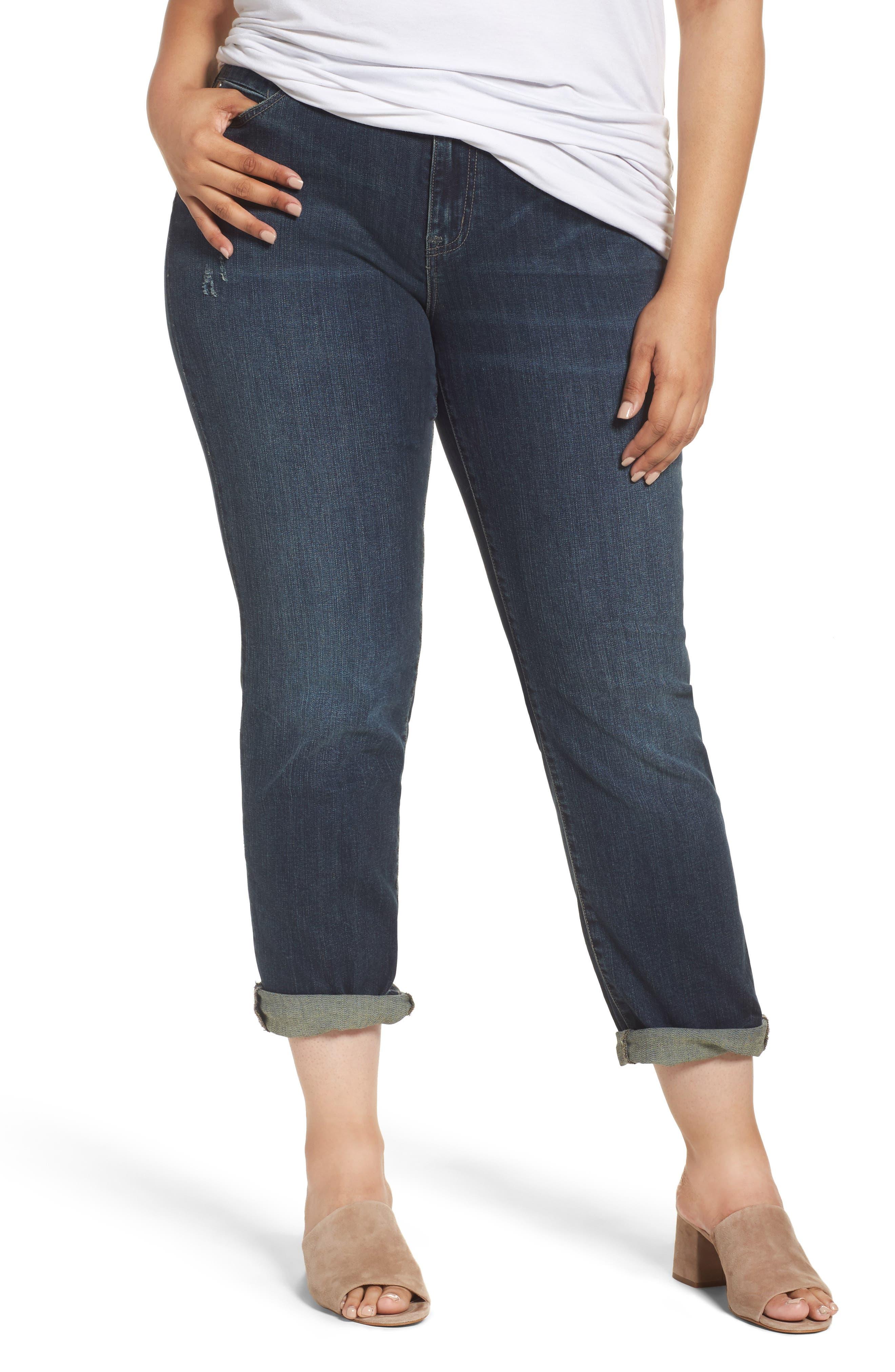 Caslon® Boyfriend Jeans (Mirage) (Plus Size)