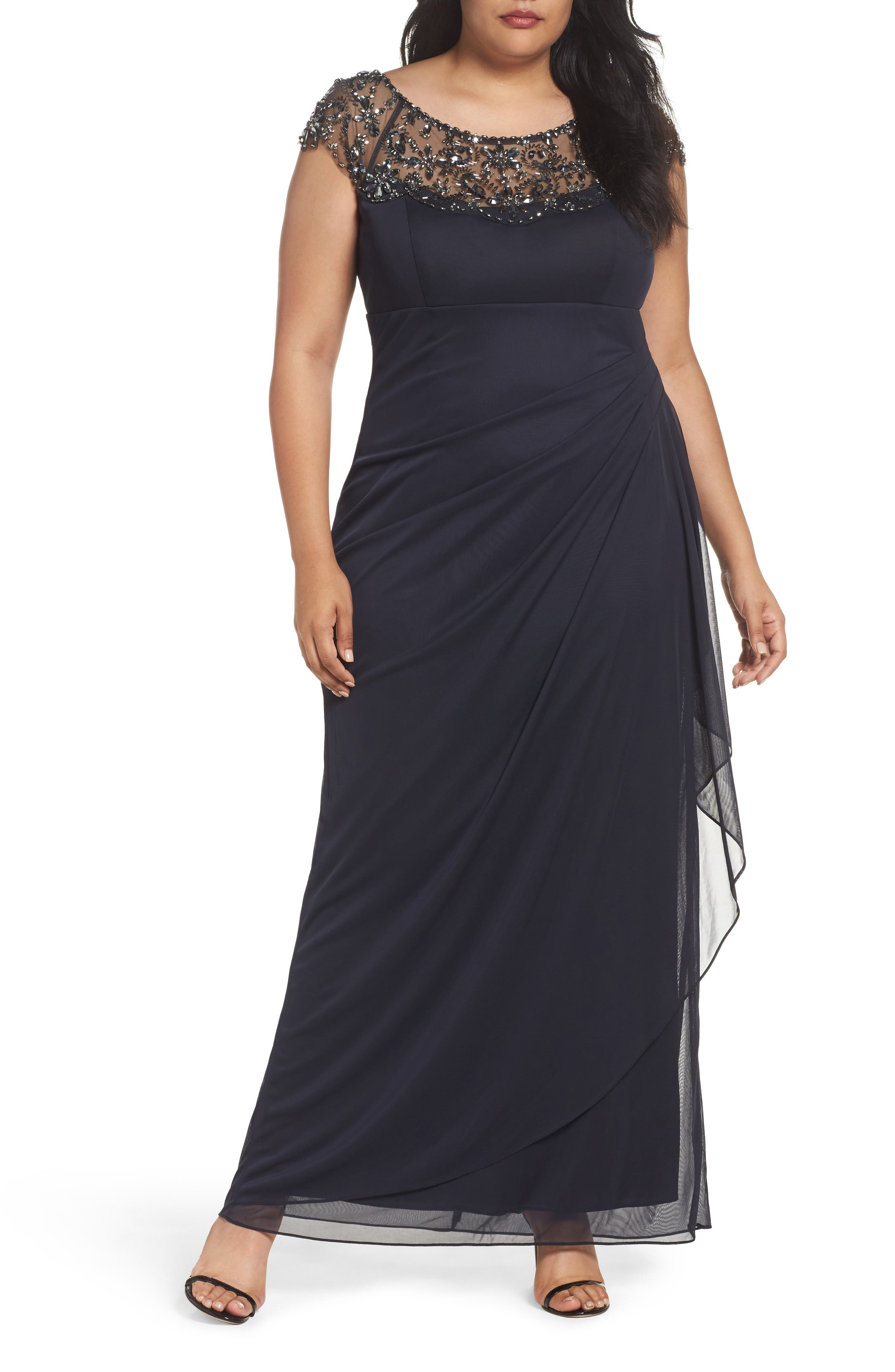 Embellished Jersey Gown,                         Main,                         color, Charcoal