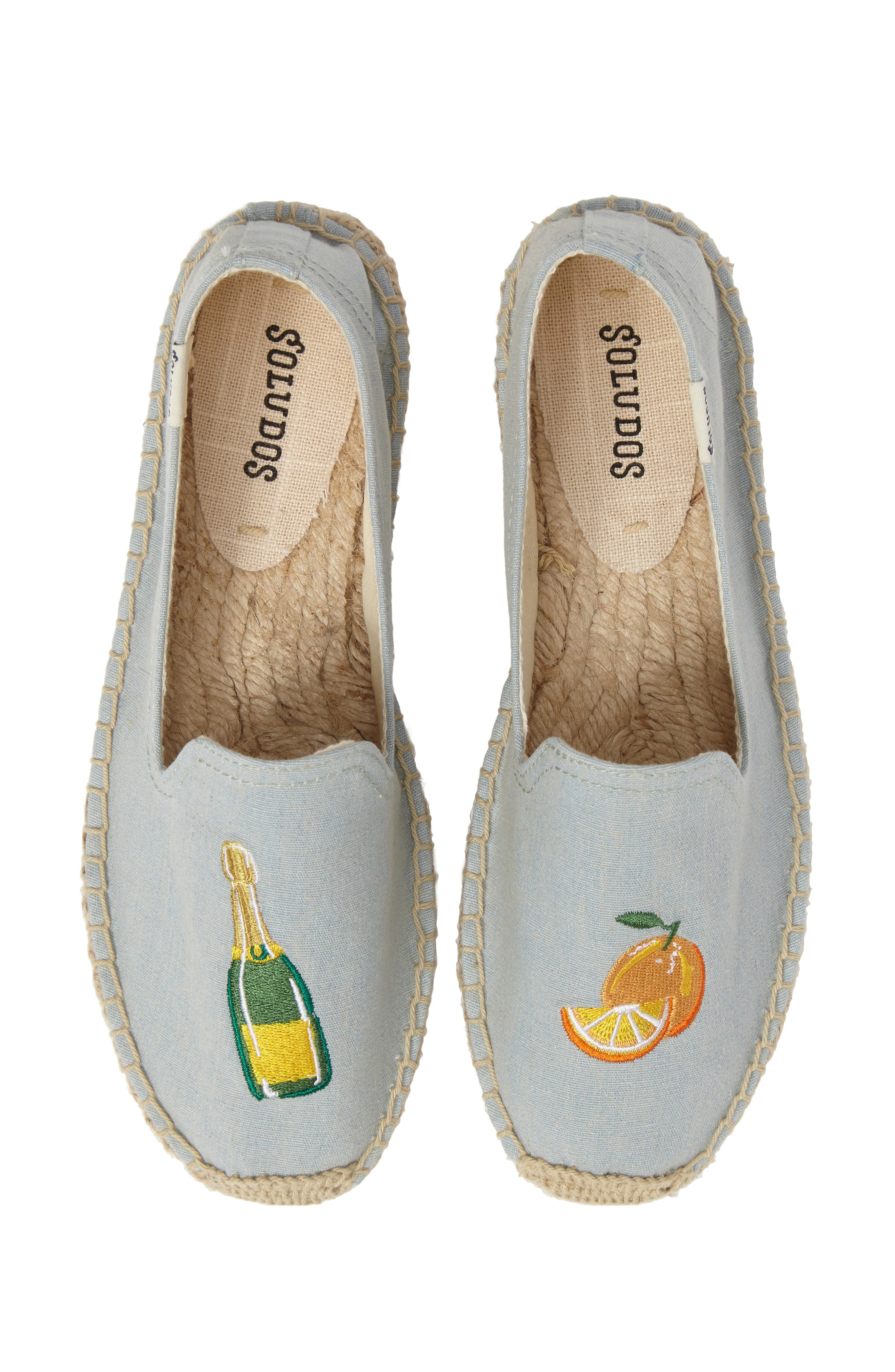 Mimosa Embroidered Platform Espadrille,                             Alternate thumbnail 4, color,                             Chambray