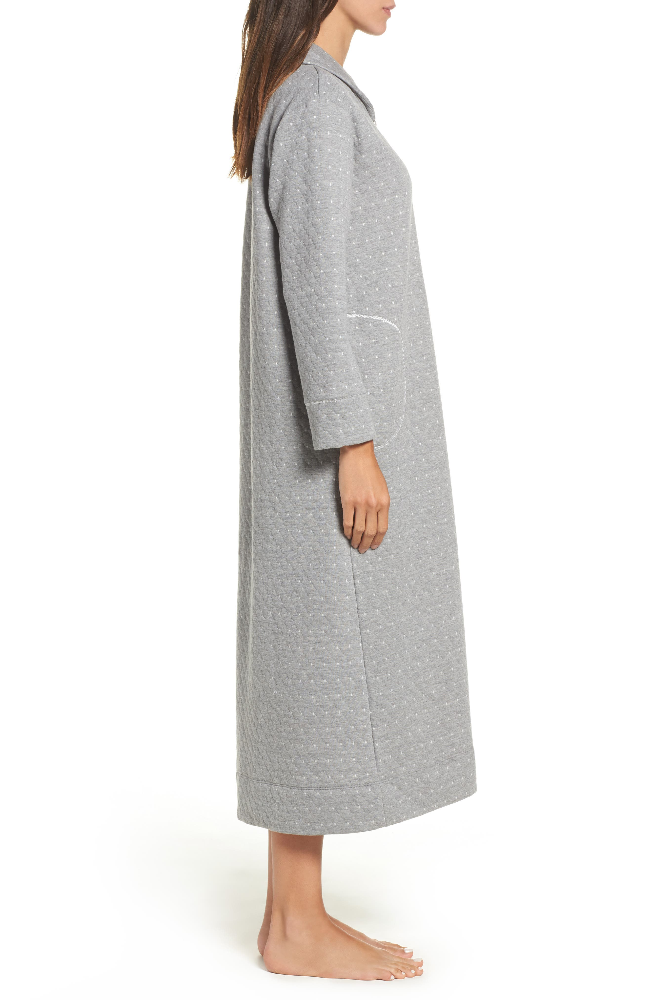 Long Zip Robe,                             Alternate thumbnail 3, color,                             Grey Heather