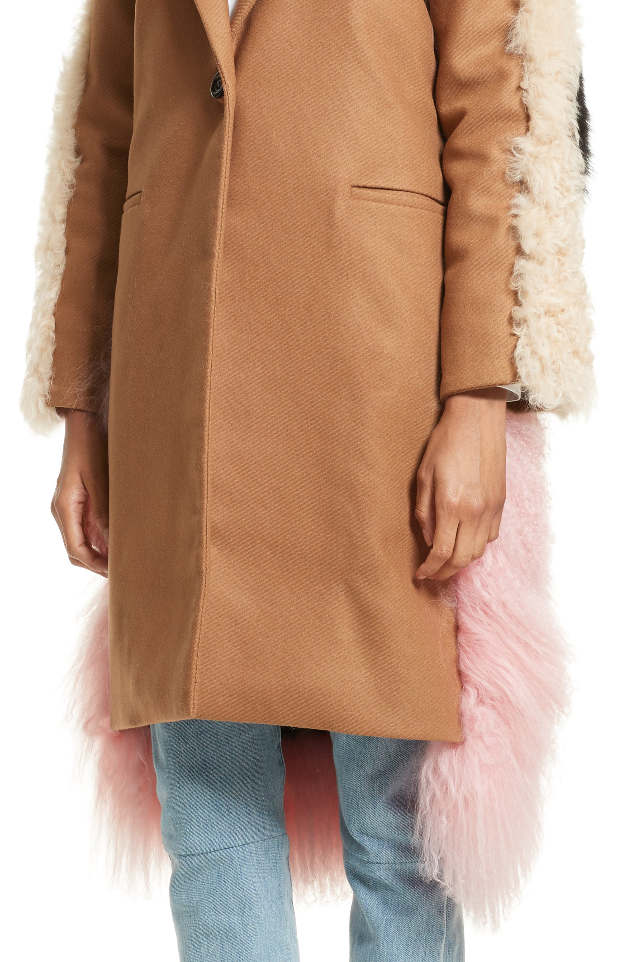 Mingo Wool Blend & Genuine Shearling Coat,                             Alternate thumbnail 7, color,                             Curry Pink