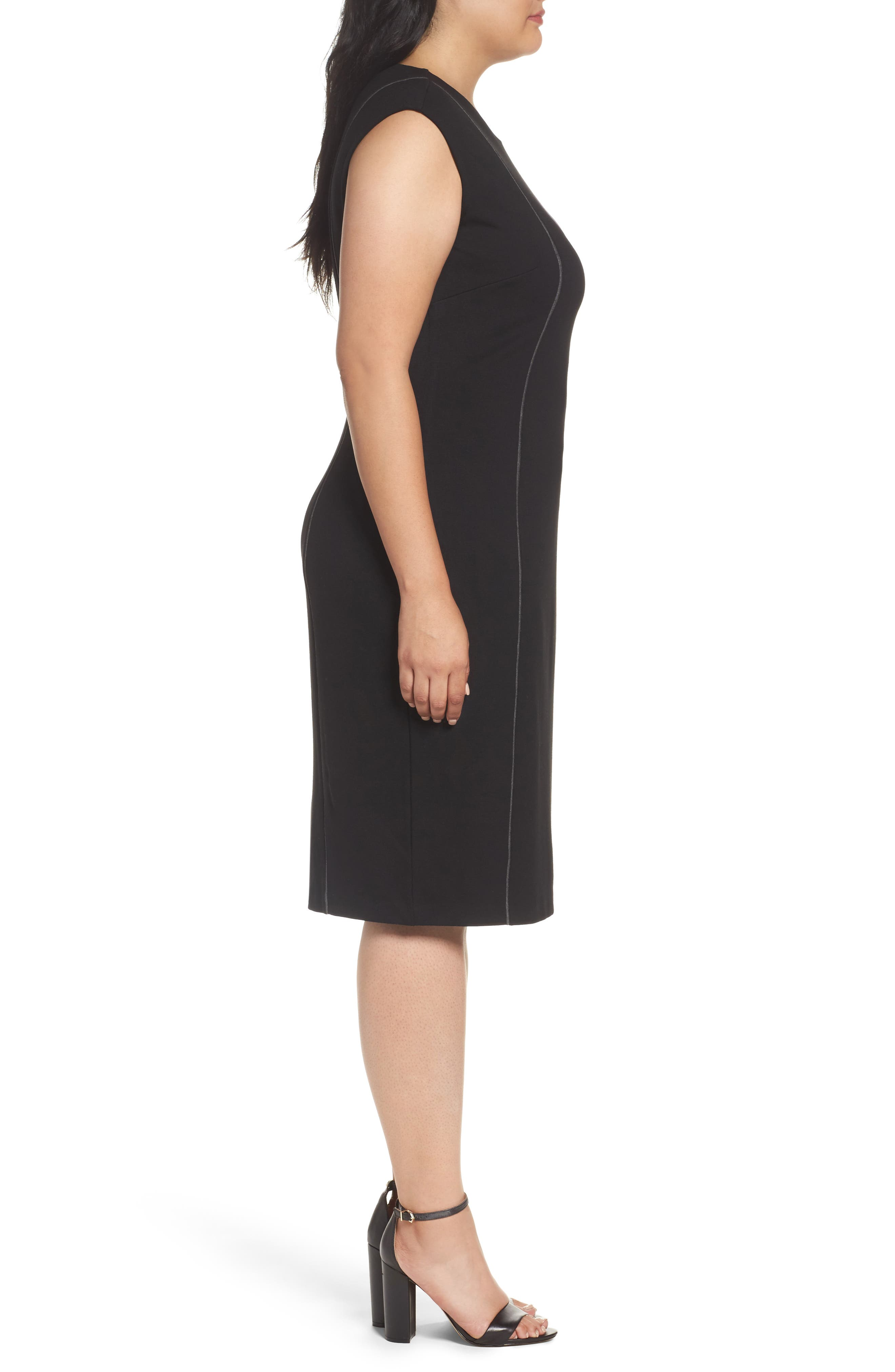 Alternate Image 3  - Sejour Contrast Seam Ponte Sheath Dress (Plus Size)