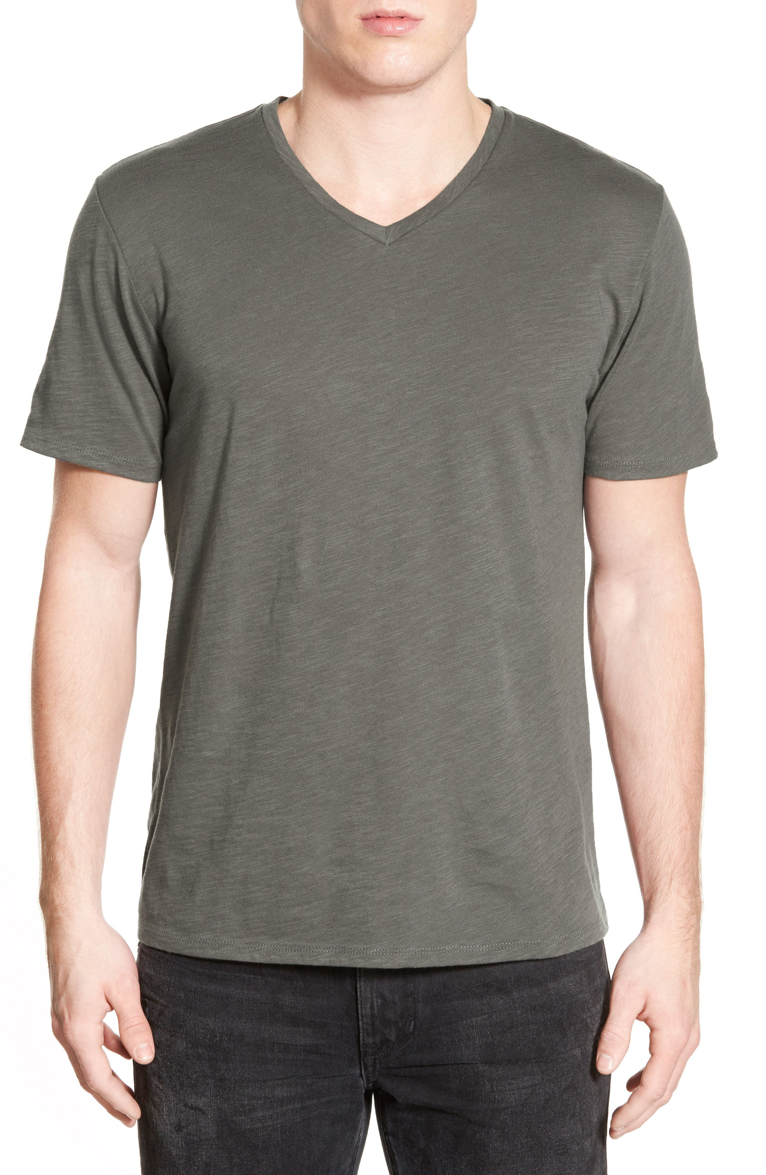Slub Cotton V-Neck T-Shirt,                             Main thumbnail 1, color,                             Olive Grove