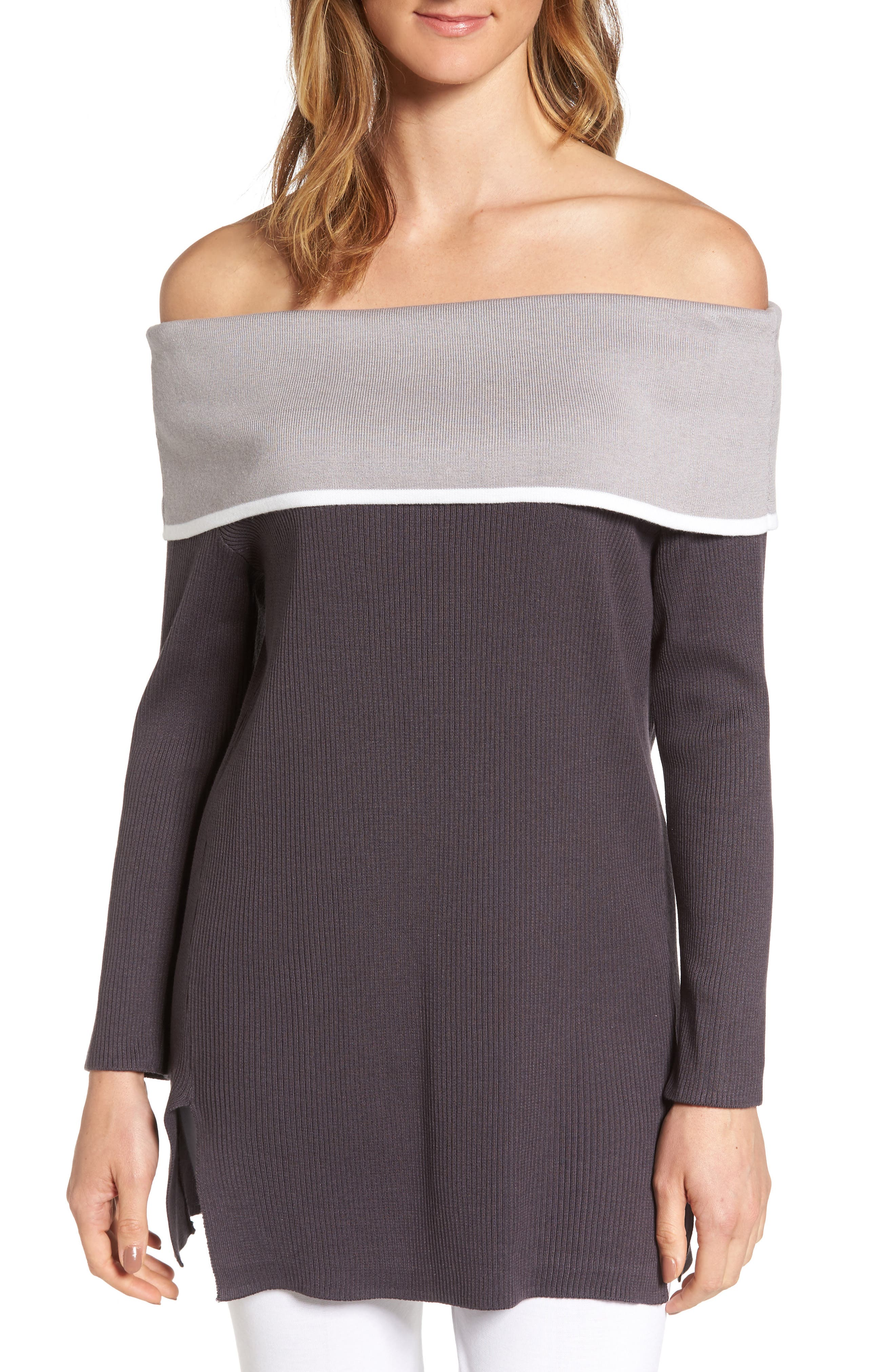 Off the Shoulder Tunic,                             Main thumbnail 1, color,                             Granite/ Sterling/ Ivory