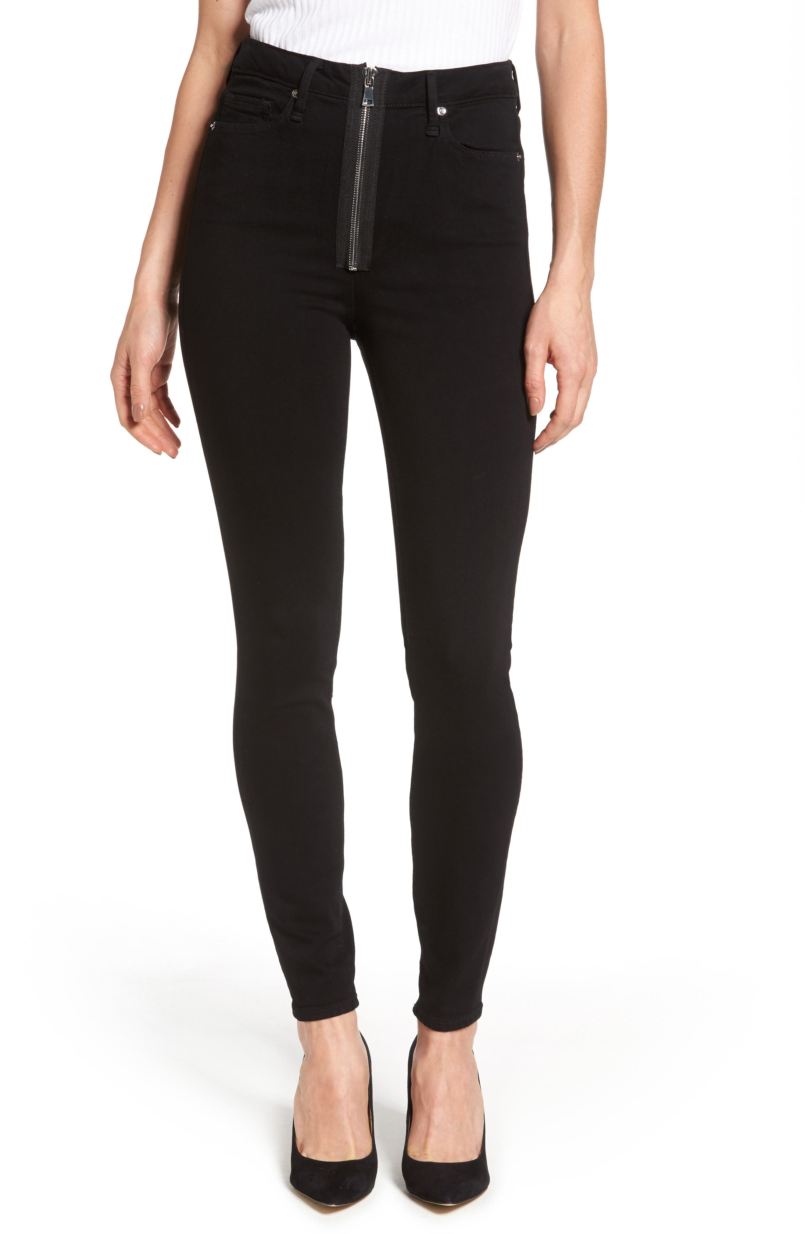 Main Image - Good American Good Waist Exposed Zip Skinny Jeans (Black 001) (Extended Sizes)