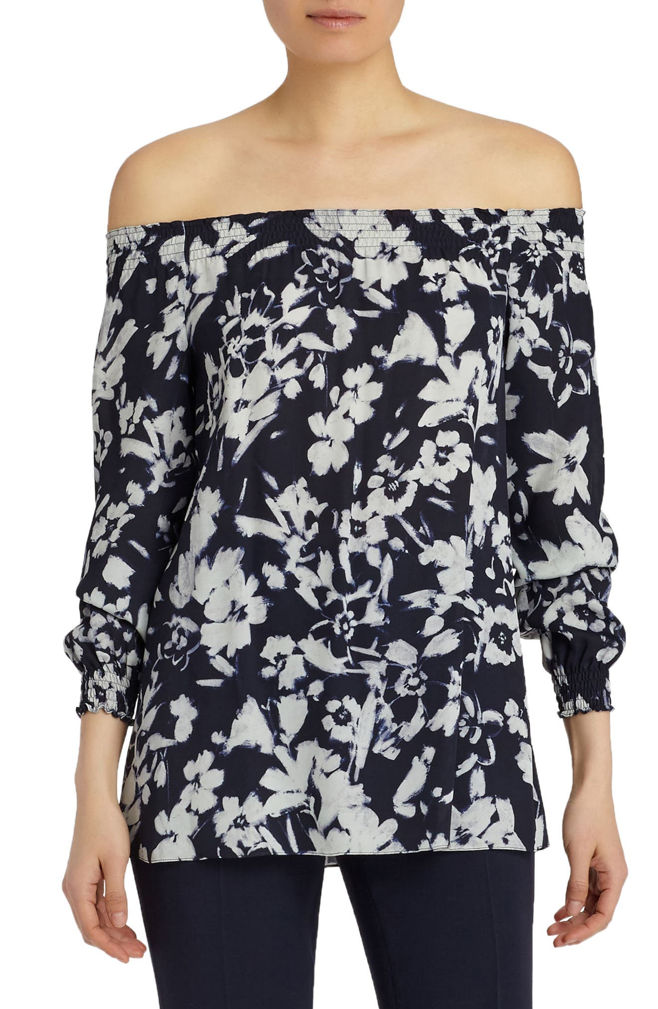 Raelyn Augusto Impression Crepe Blouse,                         Main,                         color, Ink Multi