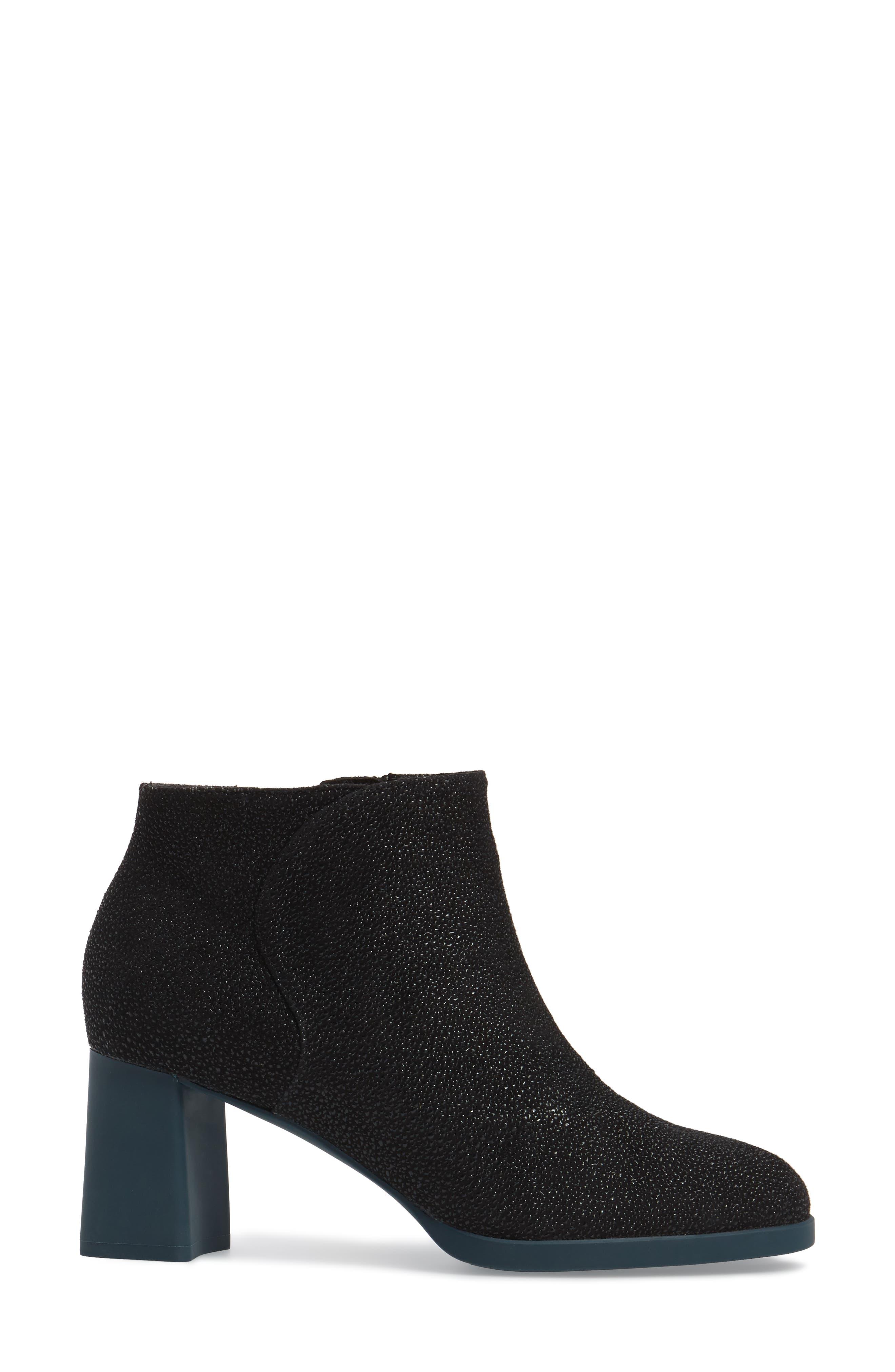 Kara Flared Heel Bootie,                             Alternate thumbnail 3, color,                             Black Sparkle Leather