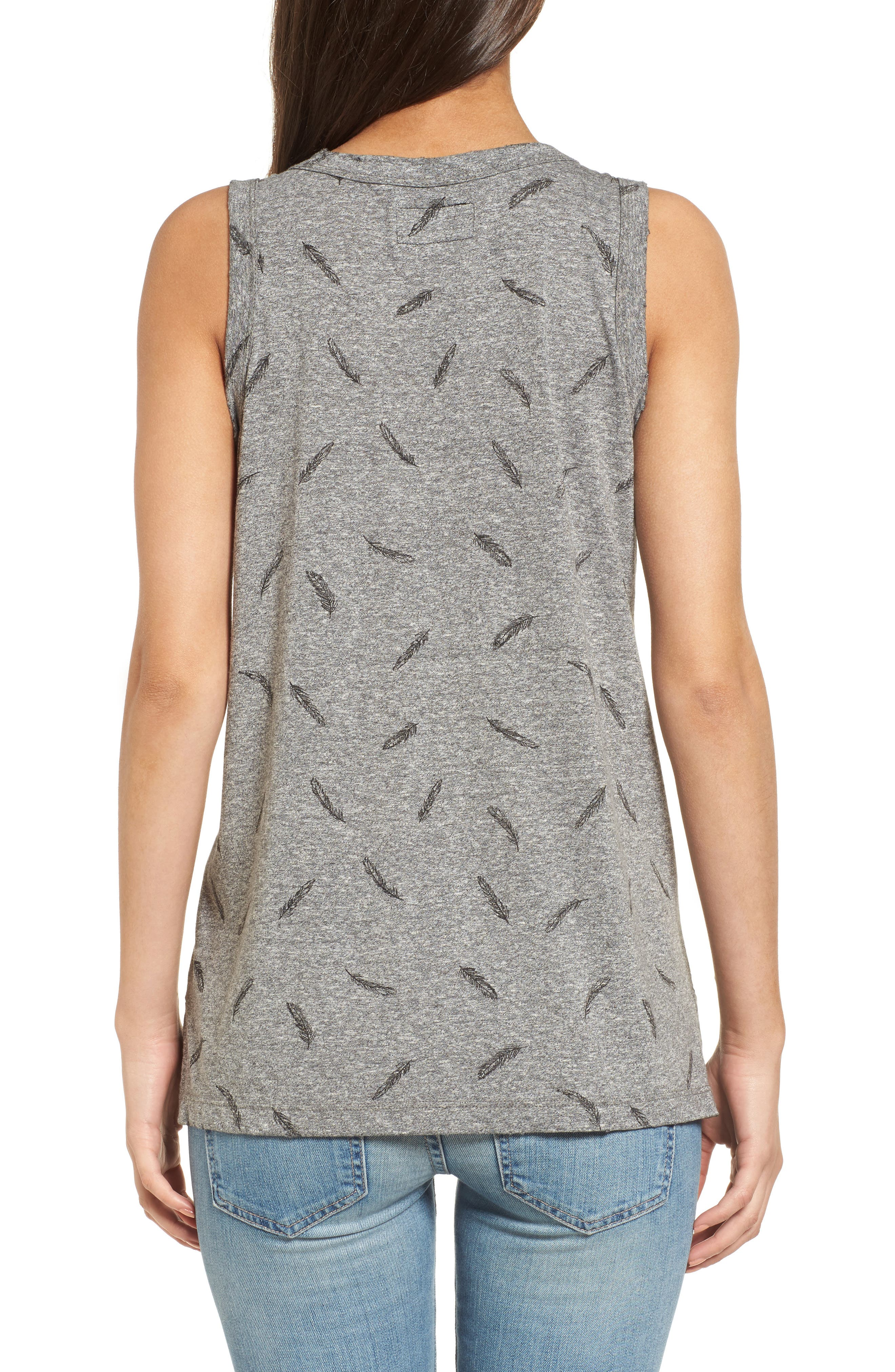 The Muscle Print Tank,                             Alternate thumbnail 2, color,                             Heather Grey W/ Feather
