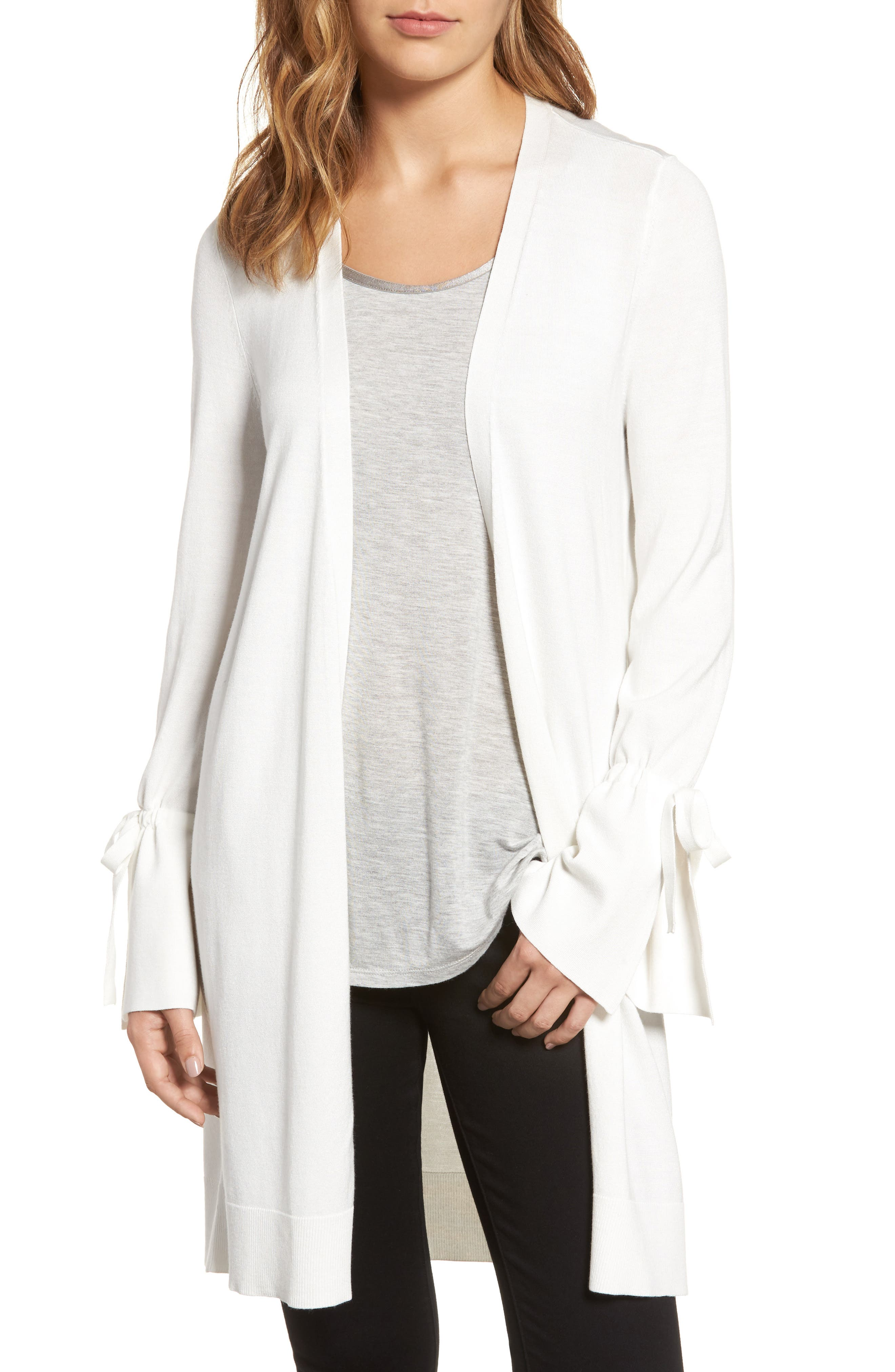 Halogen® Lightweight Tie Sleeve Cardigan