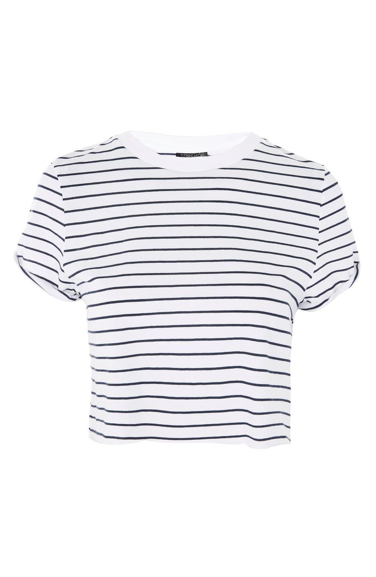 Crop Stripe Tee,                             Alternate thumbnail 8, color,                             Navy Blue Multi