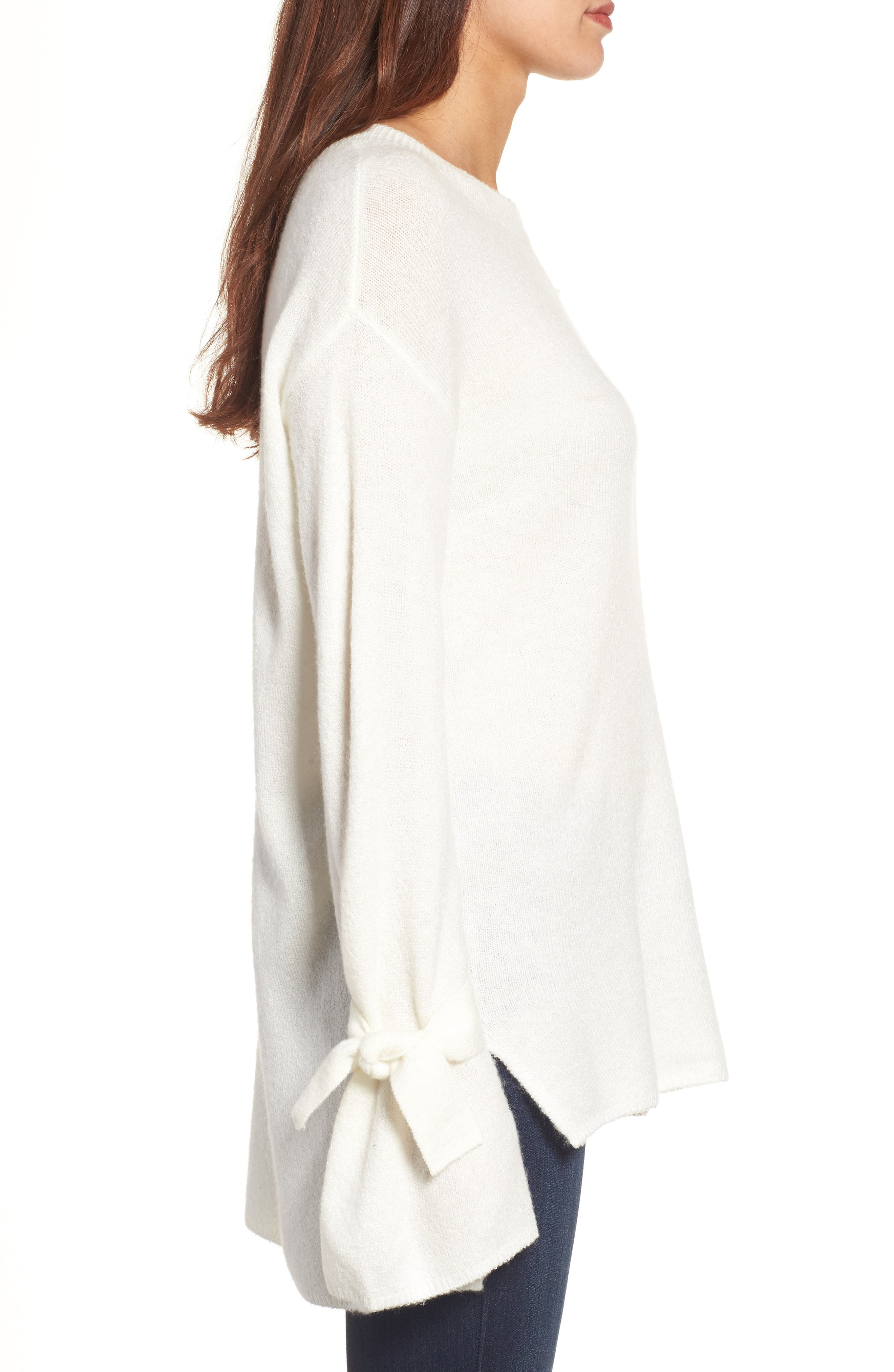 Alternate Image 3  - Halogen® Tie Bell Sleeve Sweater (Regular & Petite)