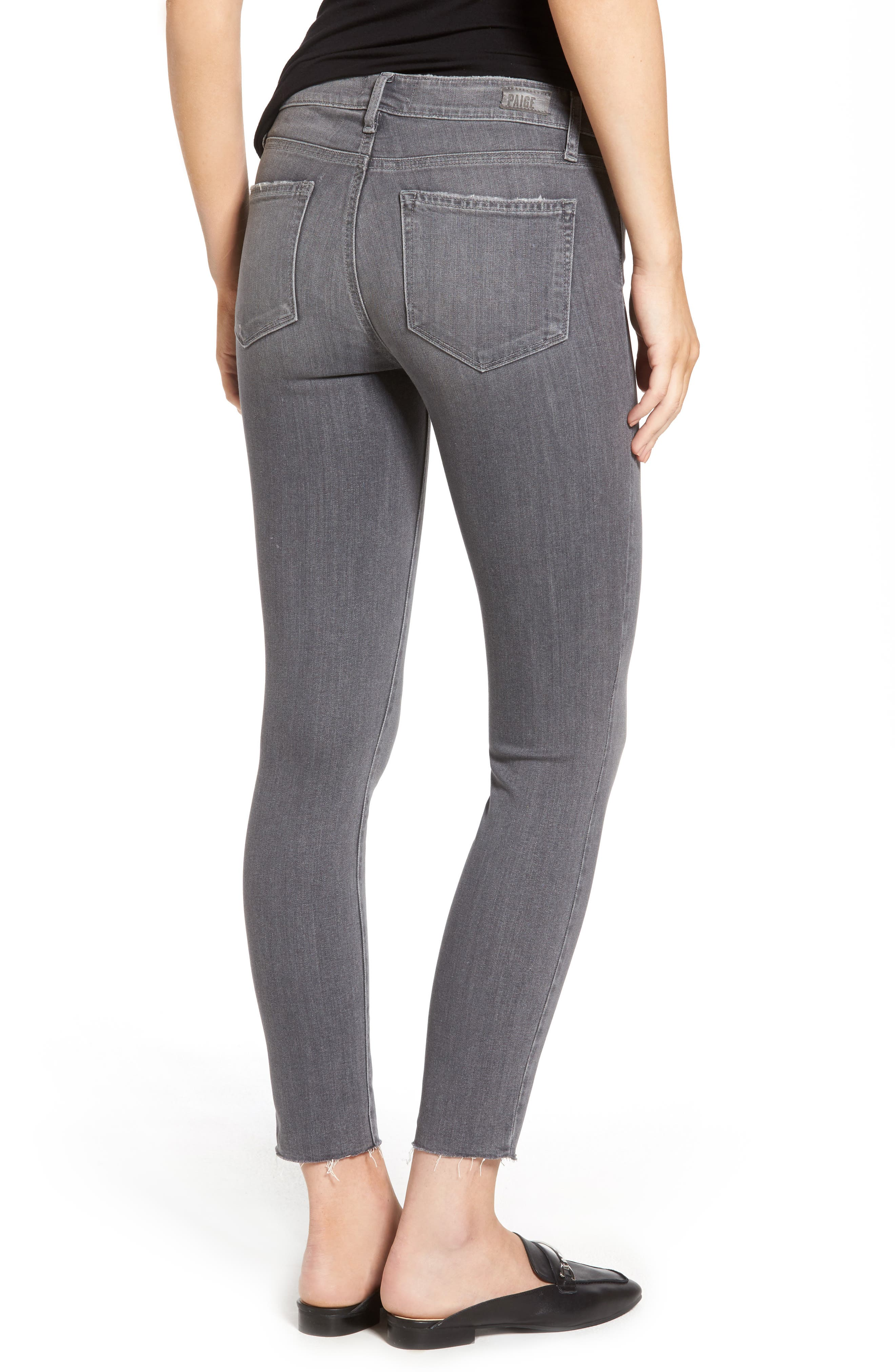 Alternate Image 3  - PAIGE Verdugo Raw Hem Ankle Skinny Jeans (Sea Salt)