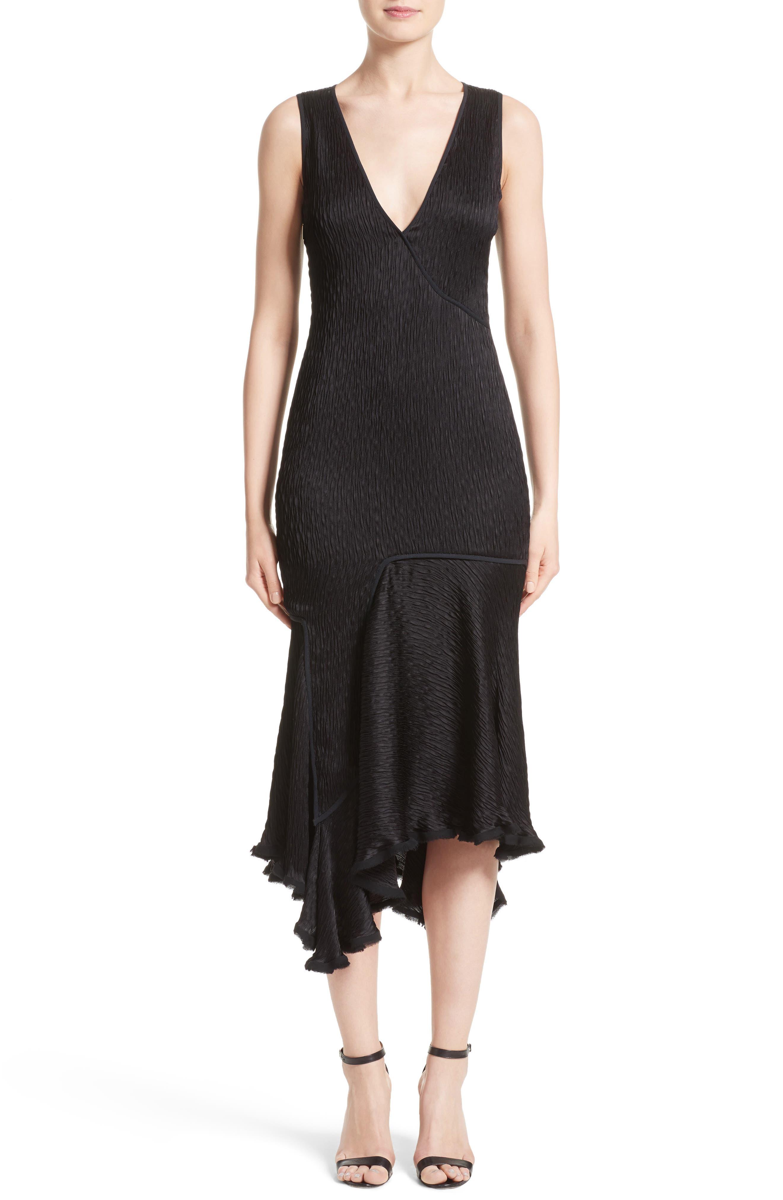 JASON WU Satin Jacquard Asymmetrical Dress