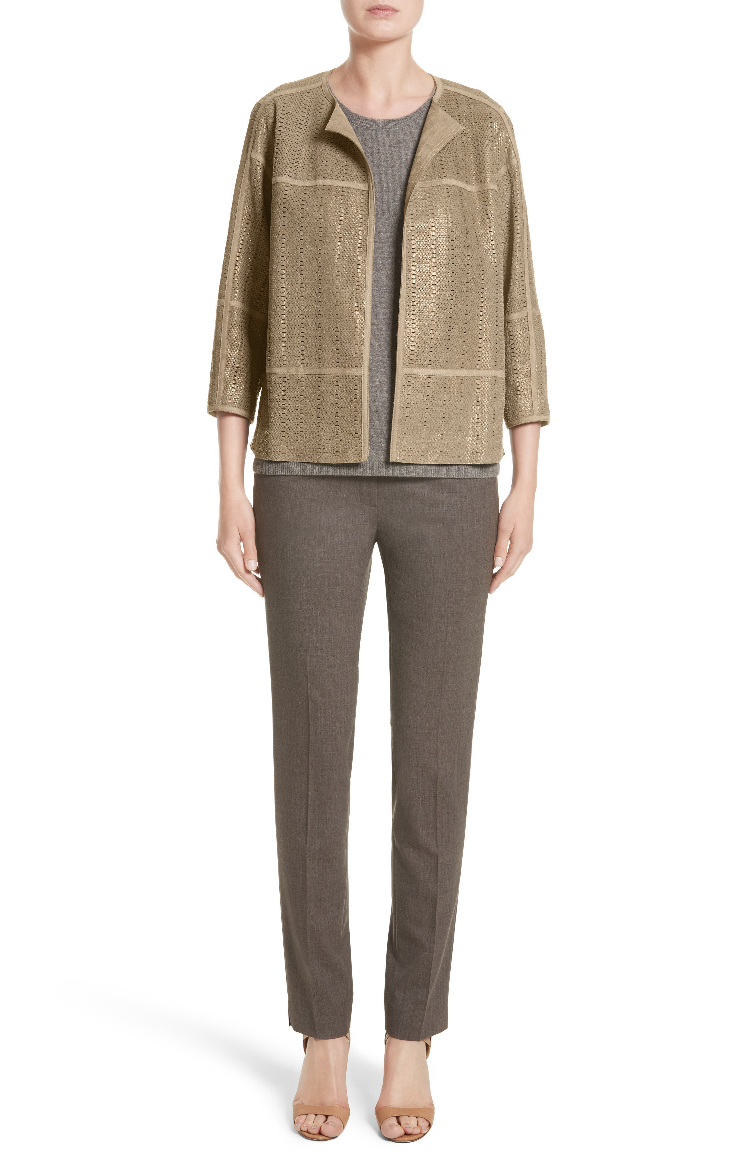 Alternate Image 7  - Lafayette 148 New York Irving Stretch Wool Pants (Nordstrom Exclusive)