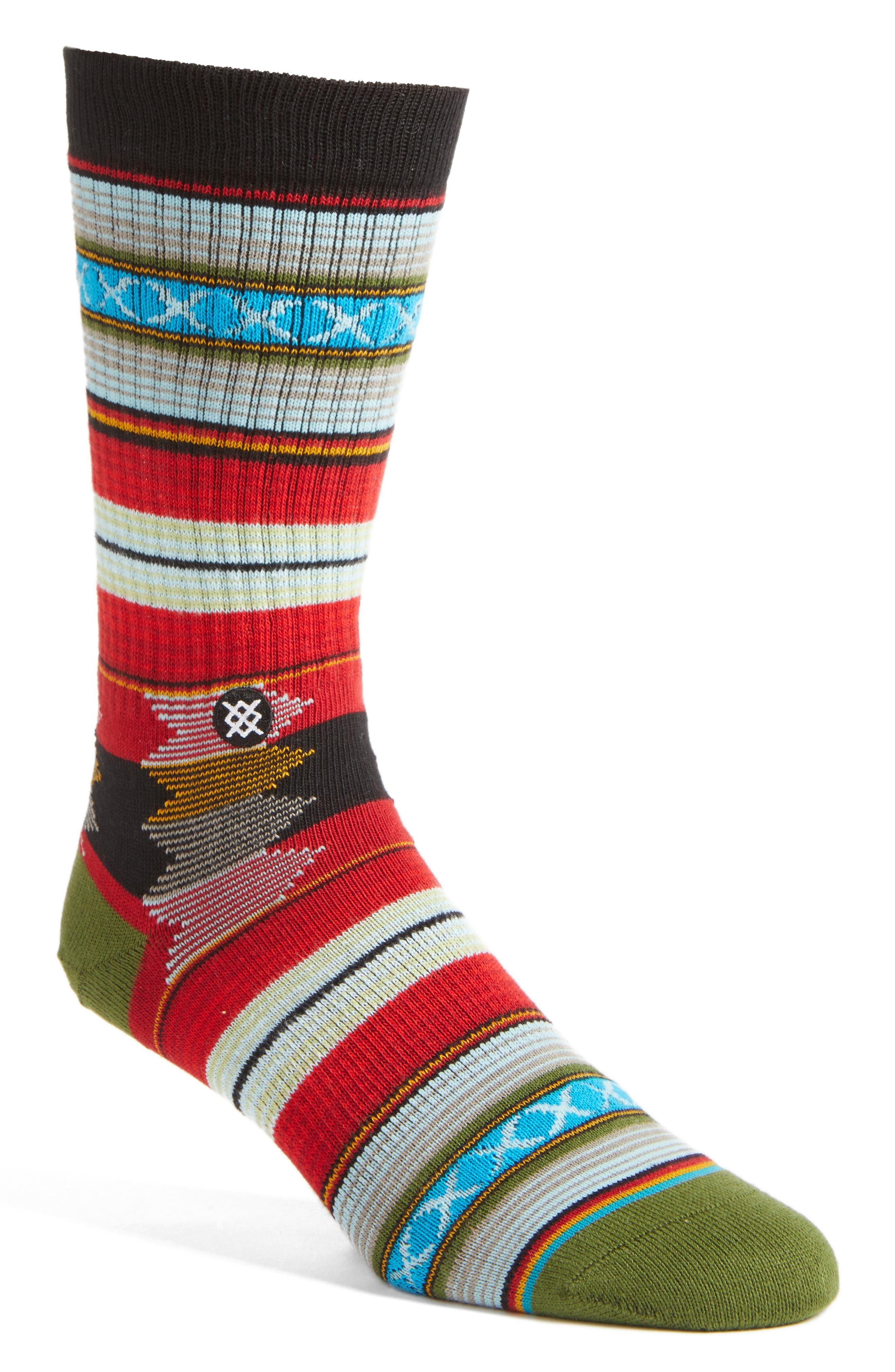 Guadalupe Stripe Socks,                         Main,                         color, Red/ Multi