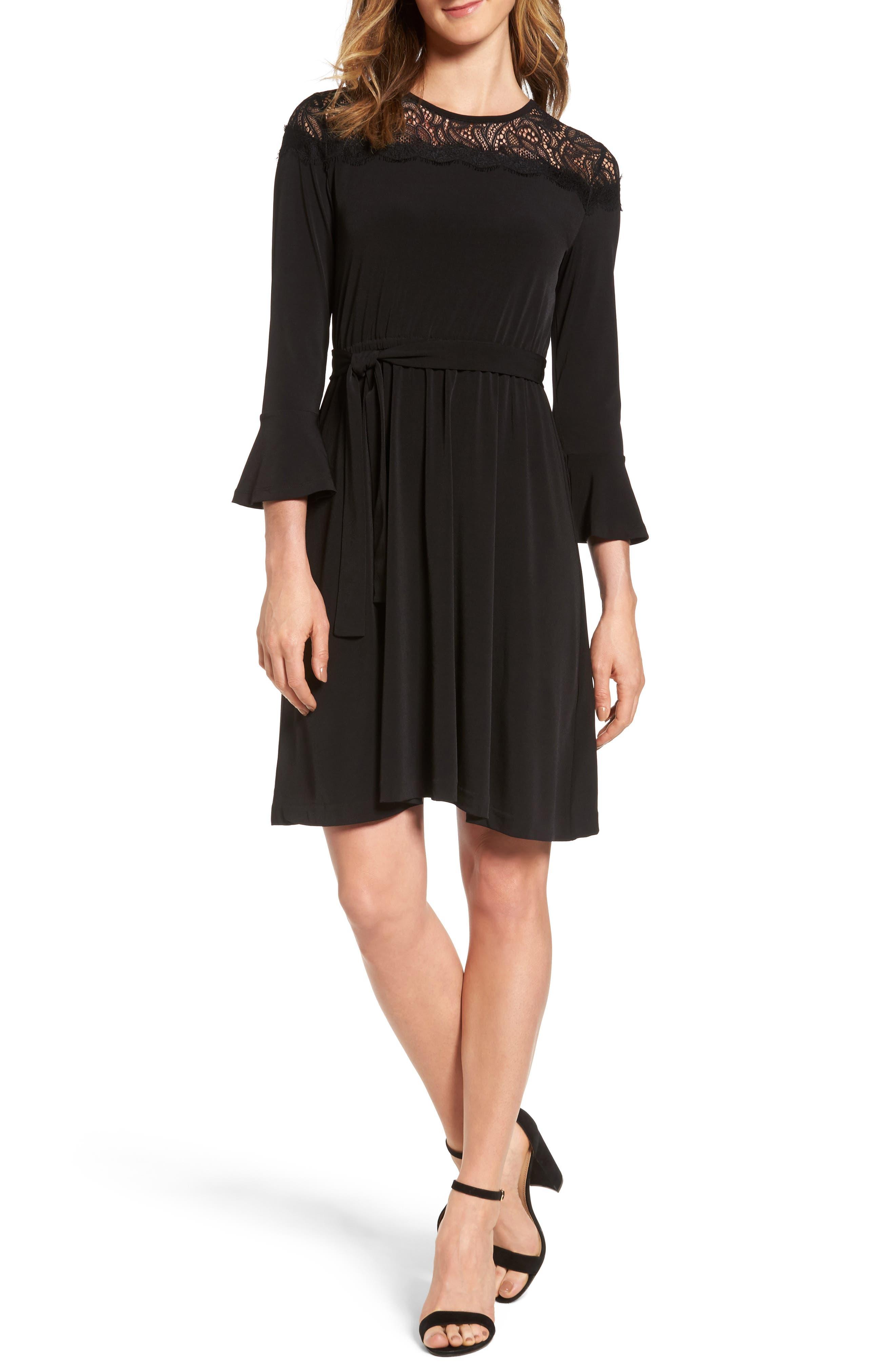 Flounce Sleeve Lace Dress,                             Main thumbnail 1, color,                             Black
