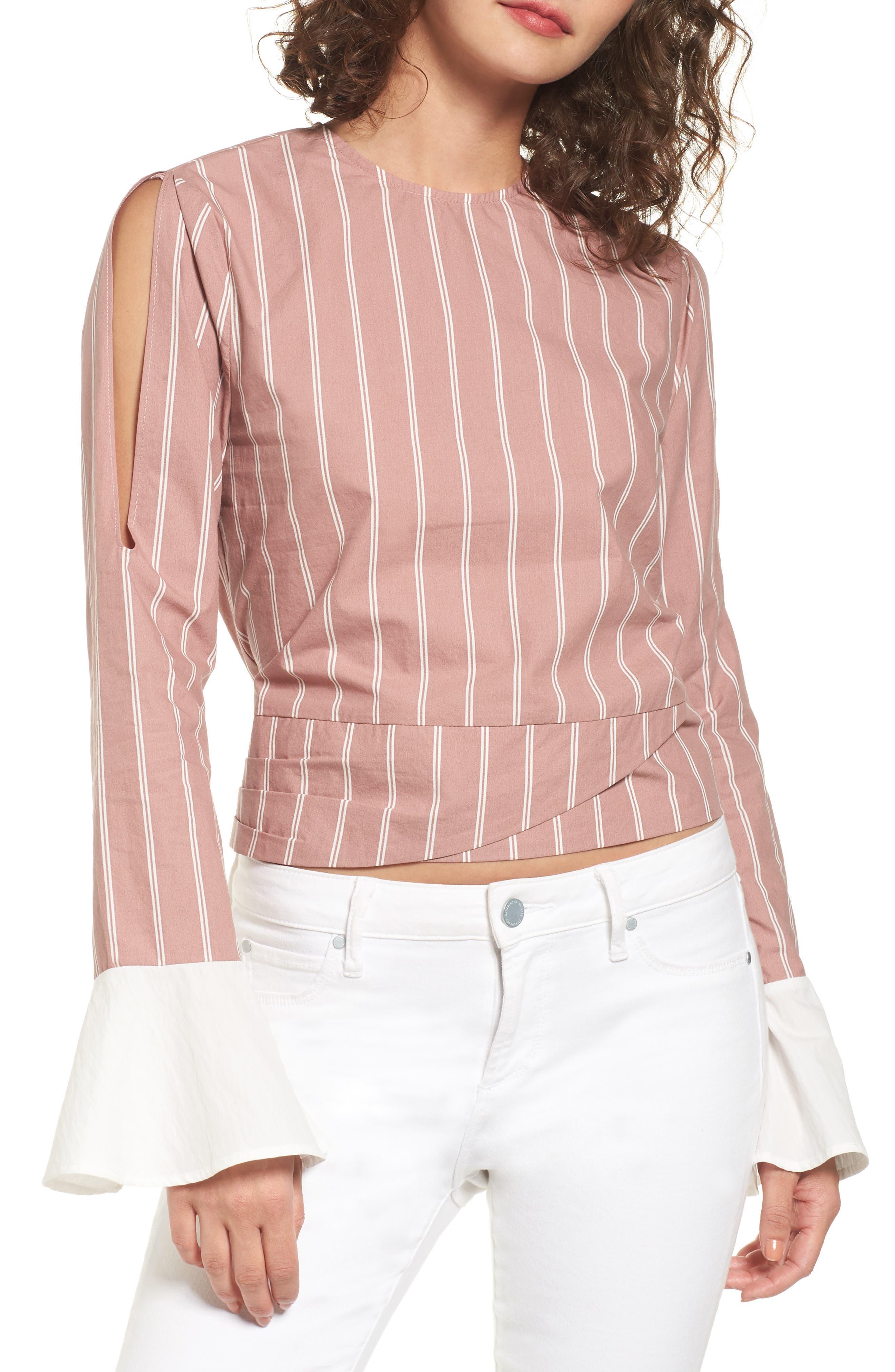 EVIDNT Stripe Cotton Tie Waist Top