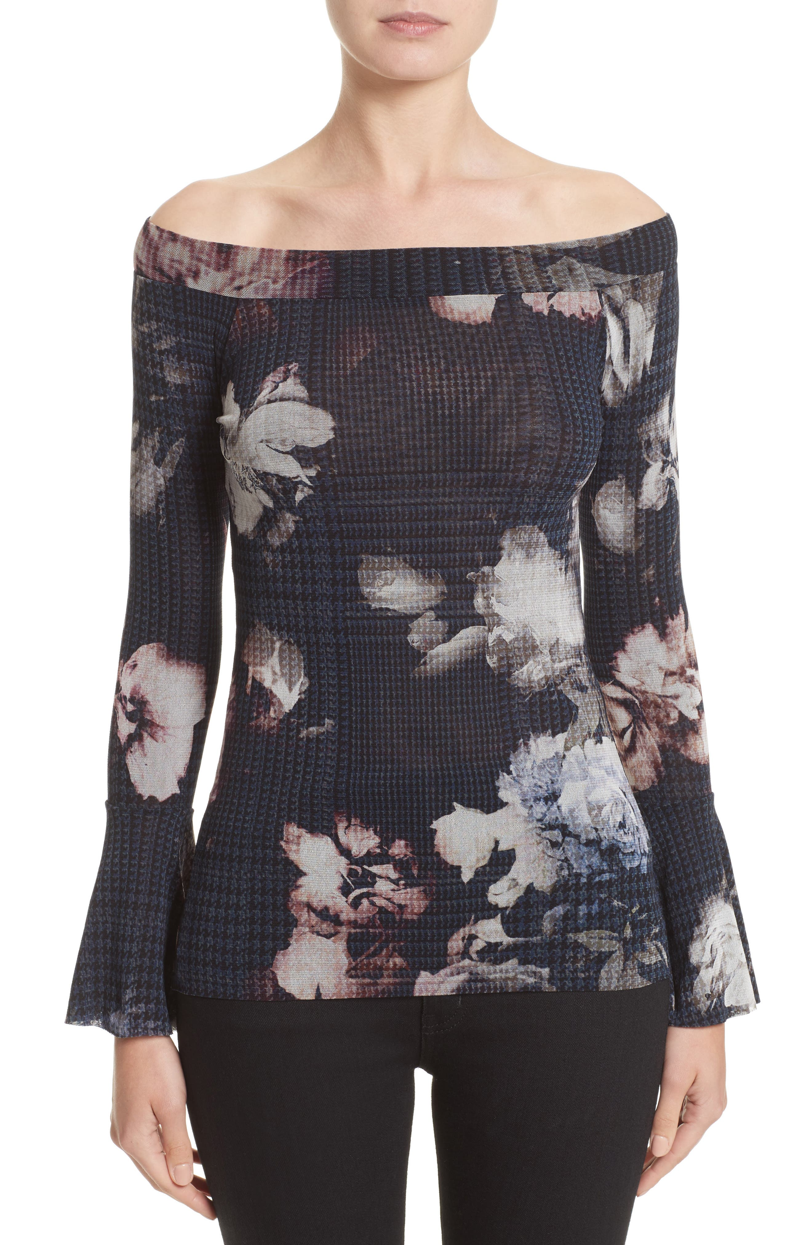 Floral Print Tulle Off the Shoulder Top,                         Main,                         color, Graphite