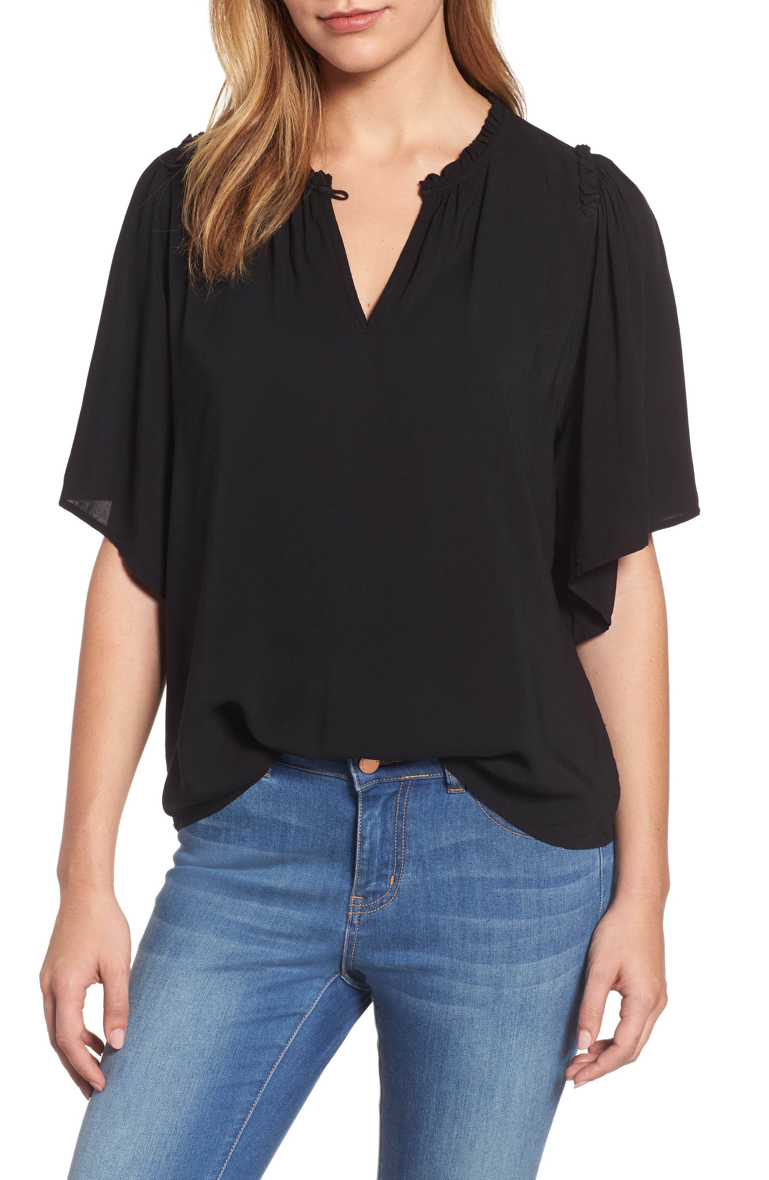 Puff Sleeve Blouse,                         Main,                         color, Black