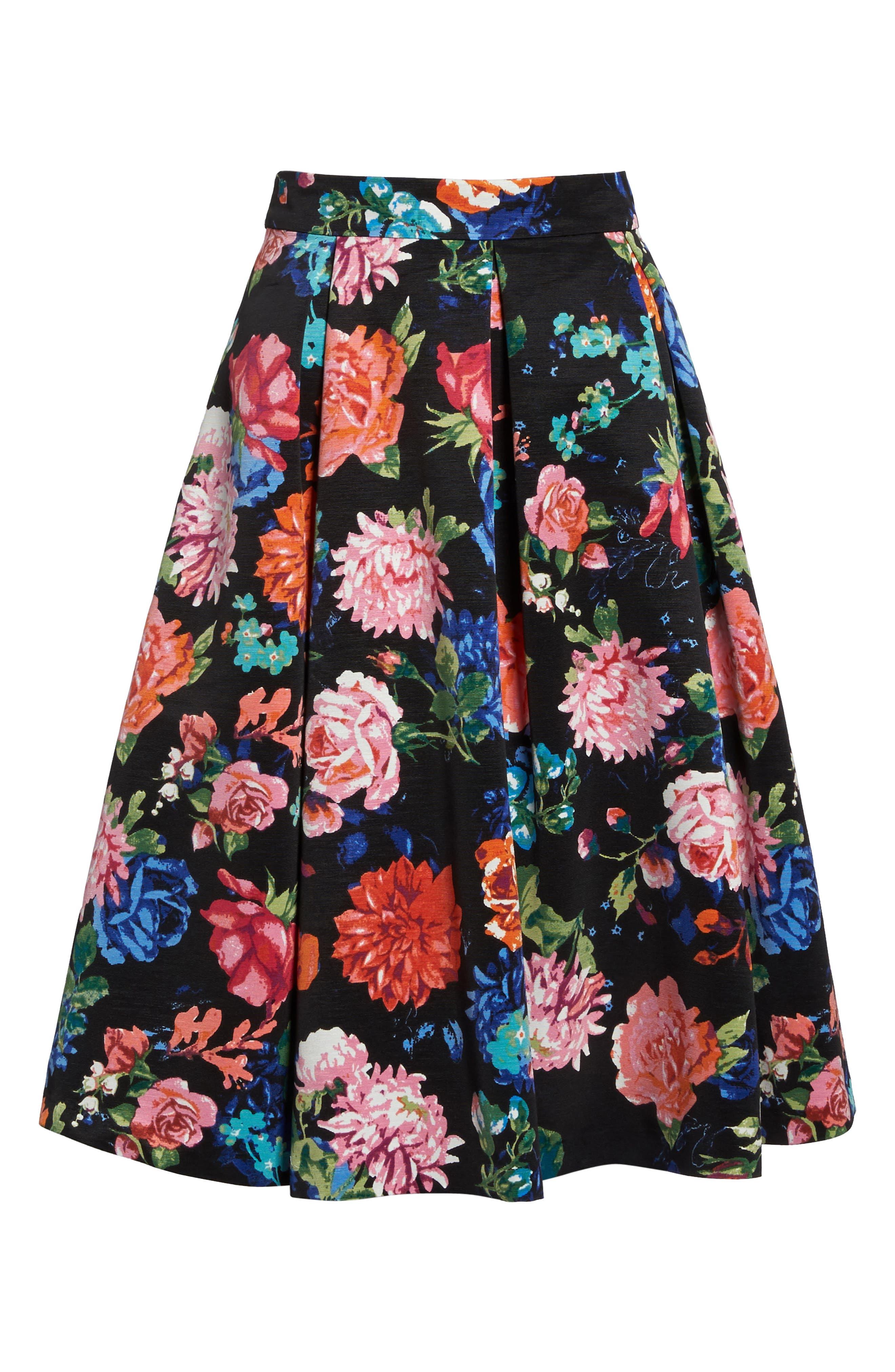Floral Midi Skirt,                             Alternate thumbnail 6, color,                             Black/ Pink