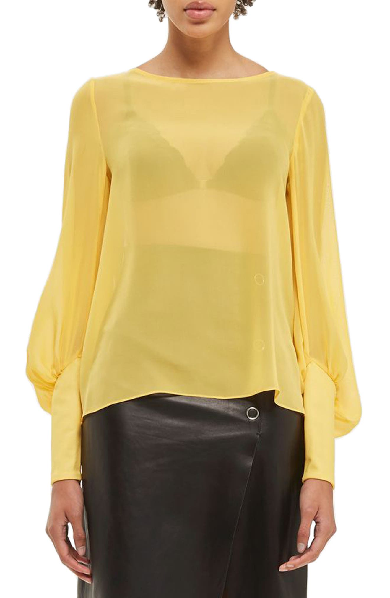 TOPSHOP BOUTIQUE Puff Sleeve Silk Blouse