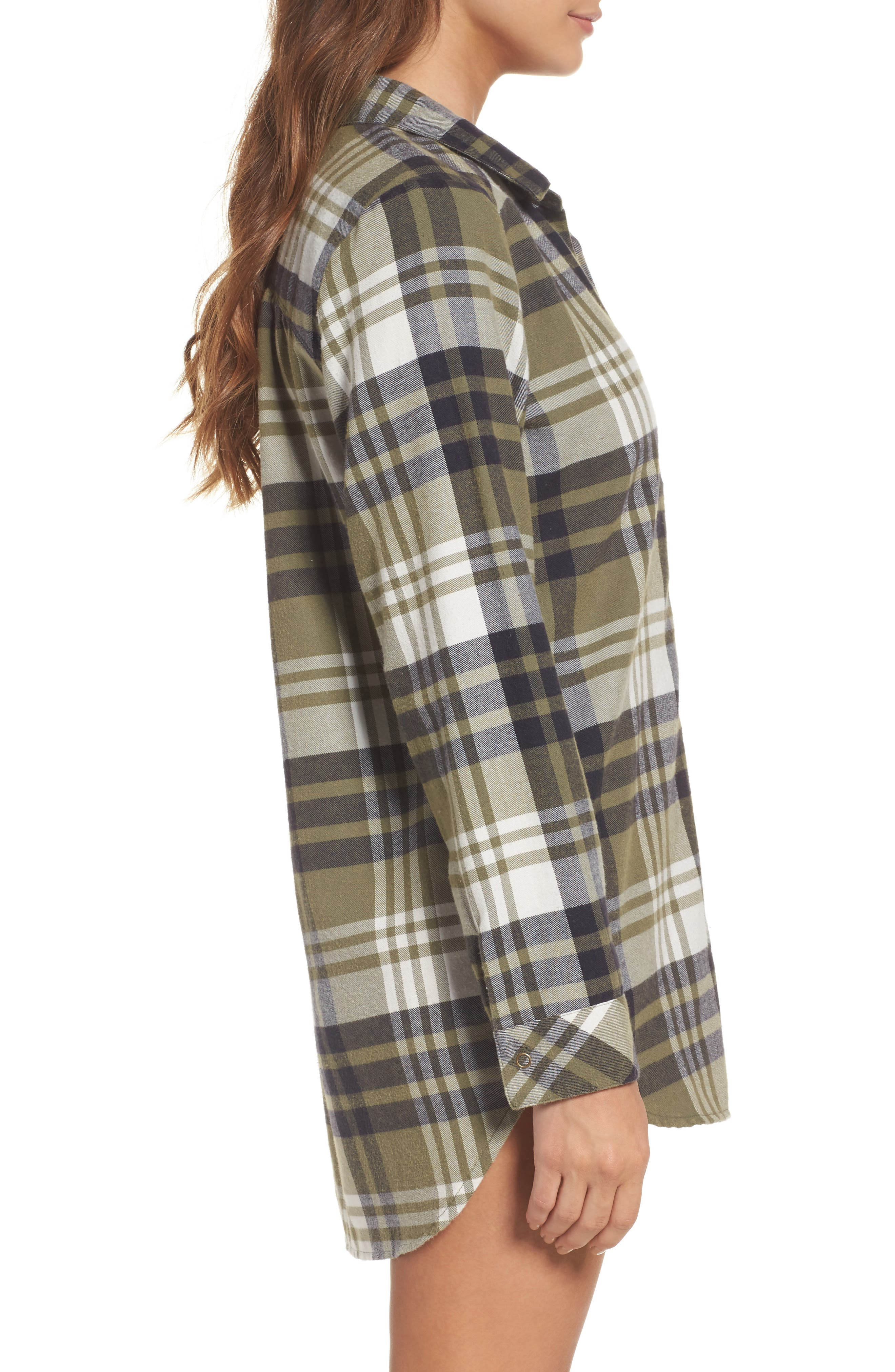 Alternate Image 3  - Make + Model Plaid Cotton Blend Nightshirt