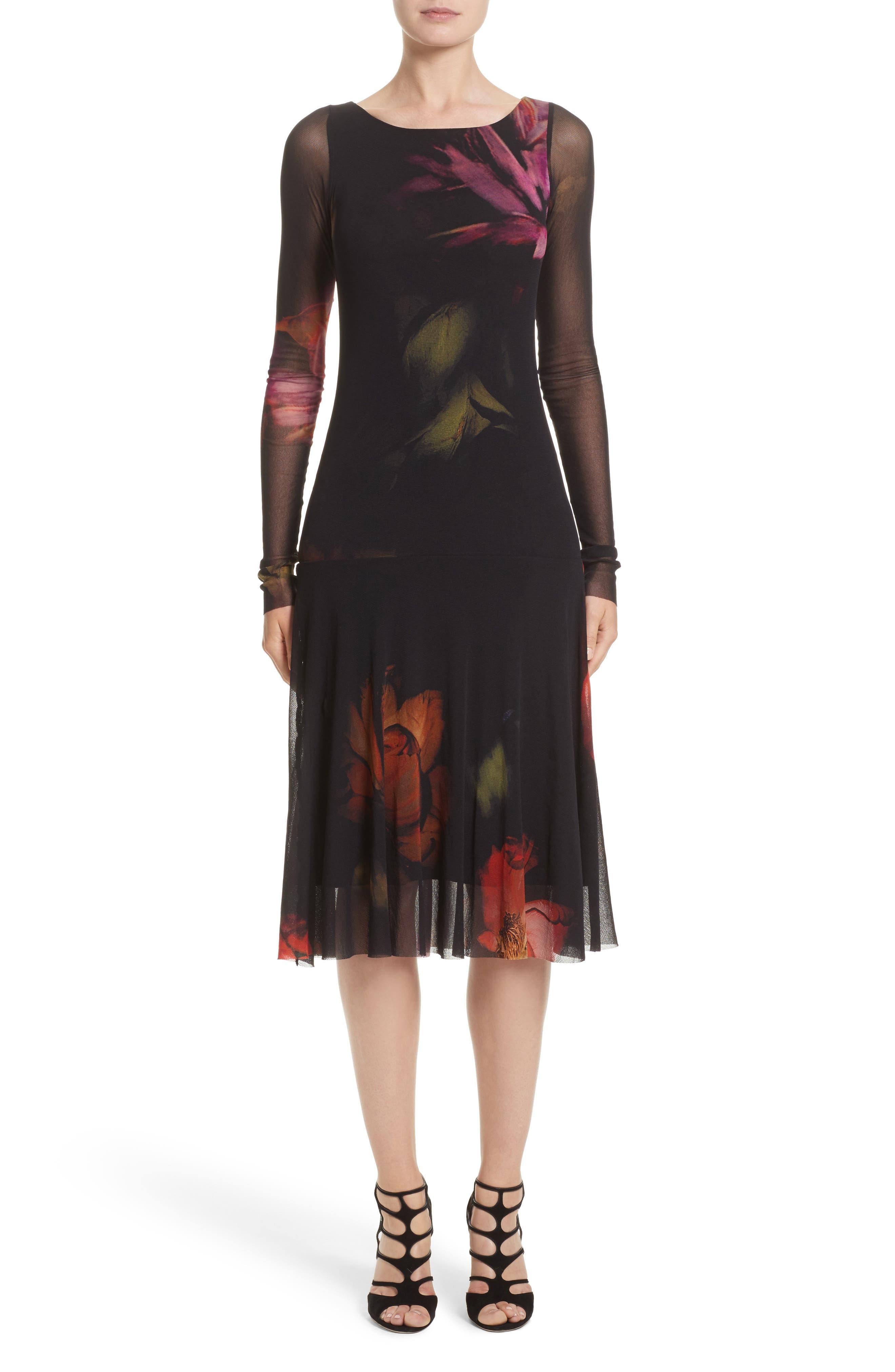 FUZZI Floral Print Tulle Drop Waist Midi Dress