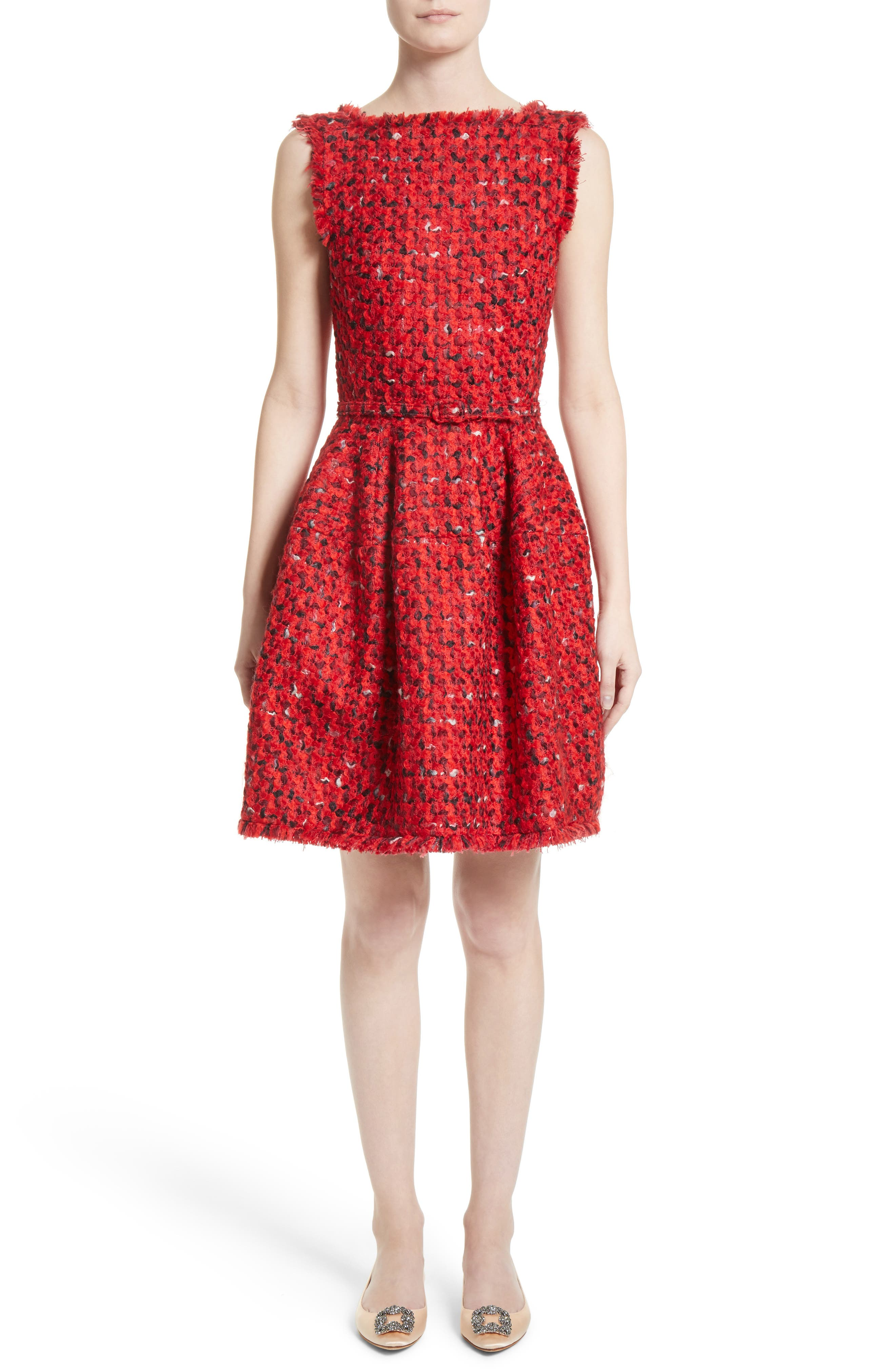 Belted Tweed Dress,                             Main thumbnail 1, color,                             Red Multi