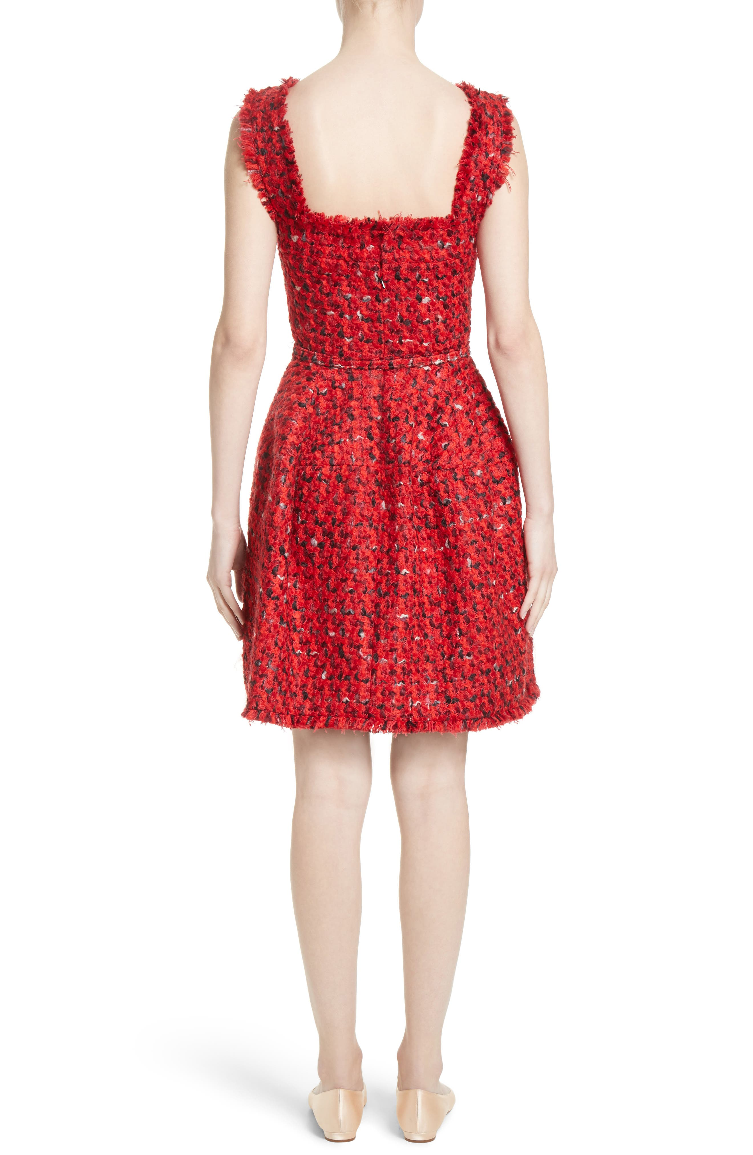 Belted Tweed Dress,                             Alternate thumbnail 2, color,                             Red Multi