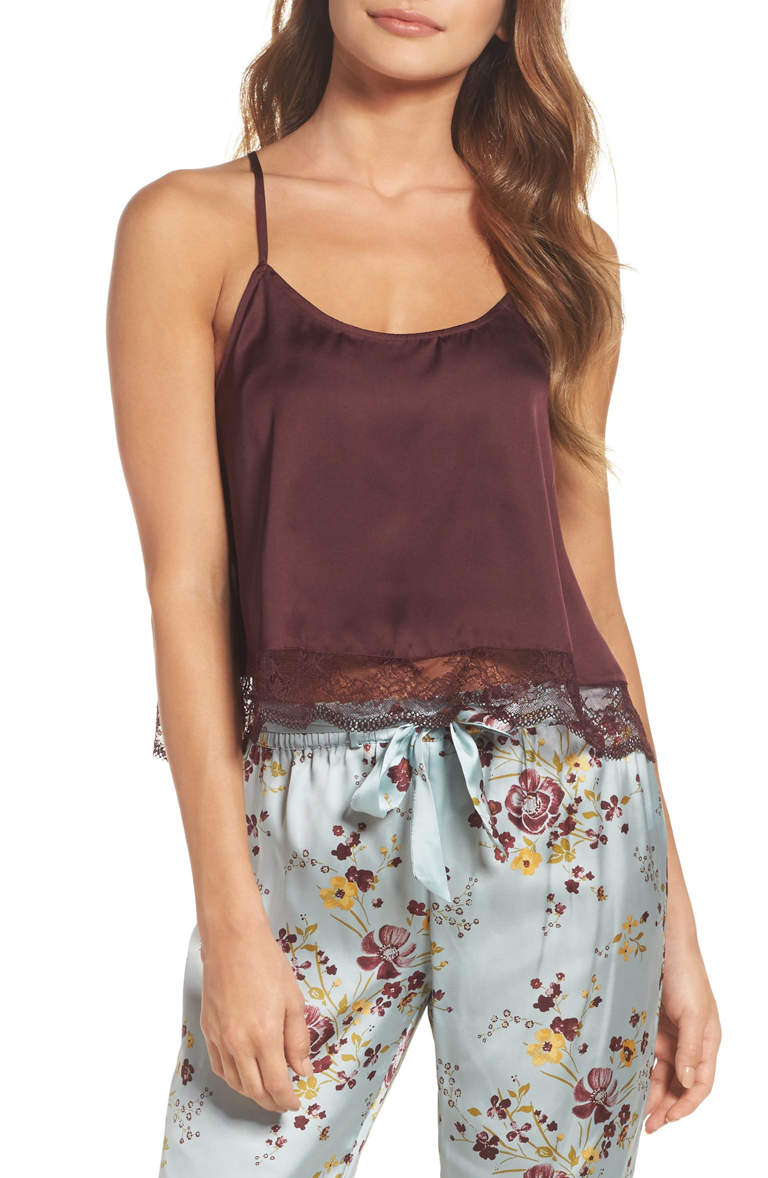In My Dreams Lace Trim Camisole,                         Main,                         color, Burgundy Stem