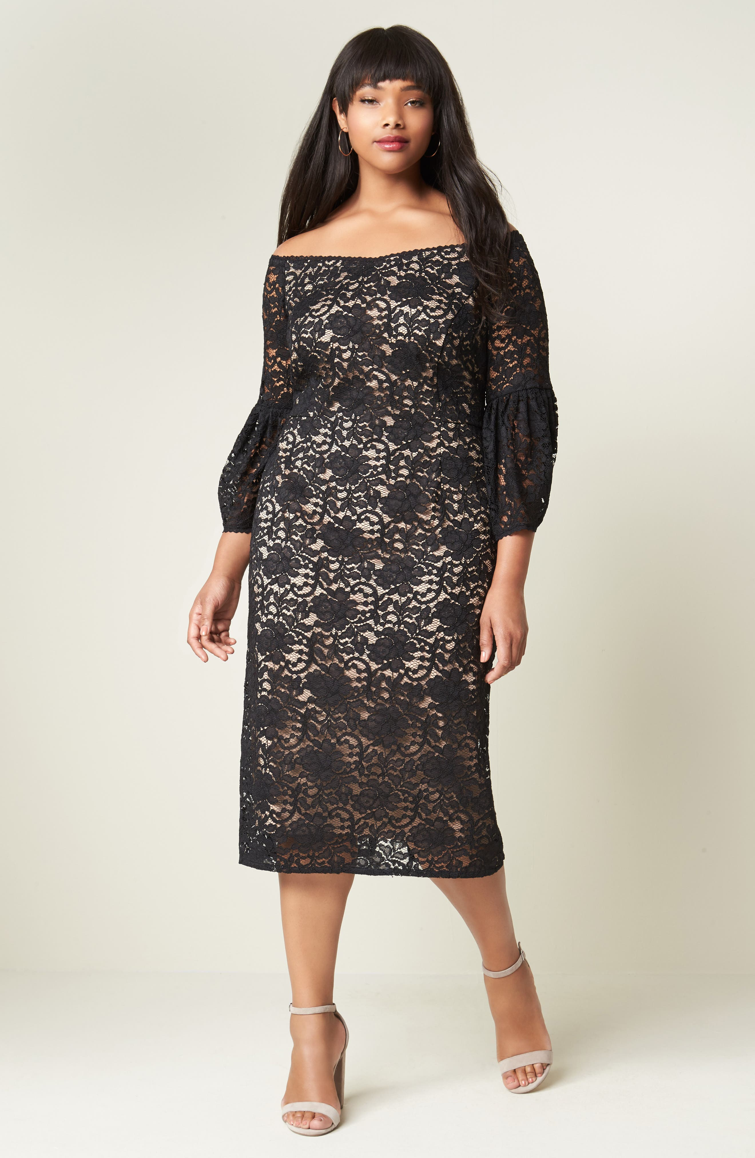 Alternate Image 2  - Adrianna Papell Juliet Off the Shoulder Lace Dress (Plus Size)