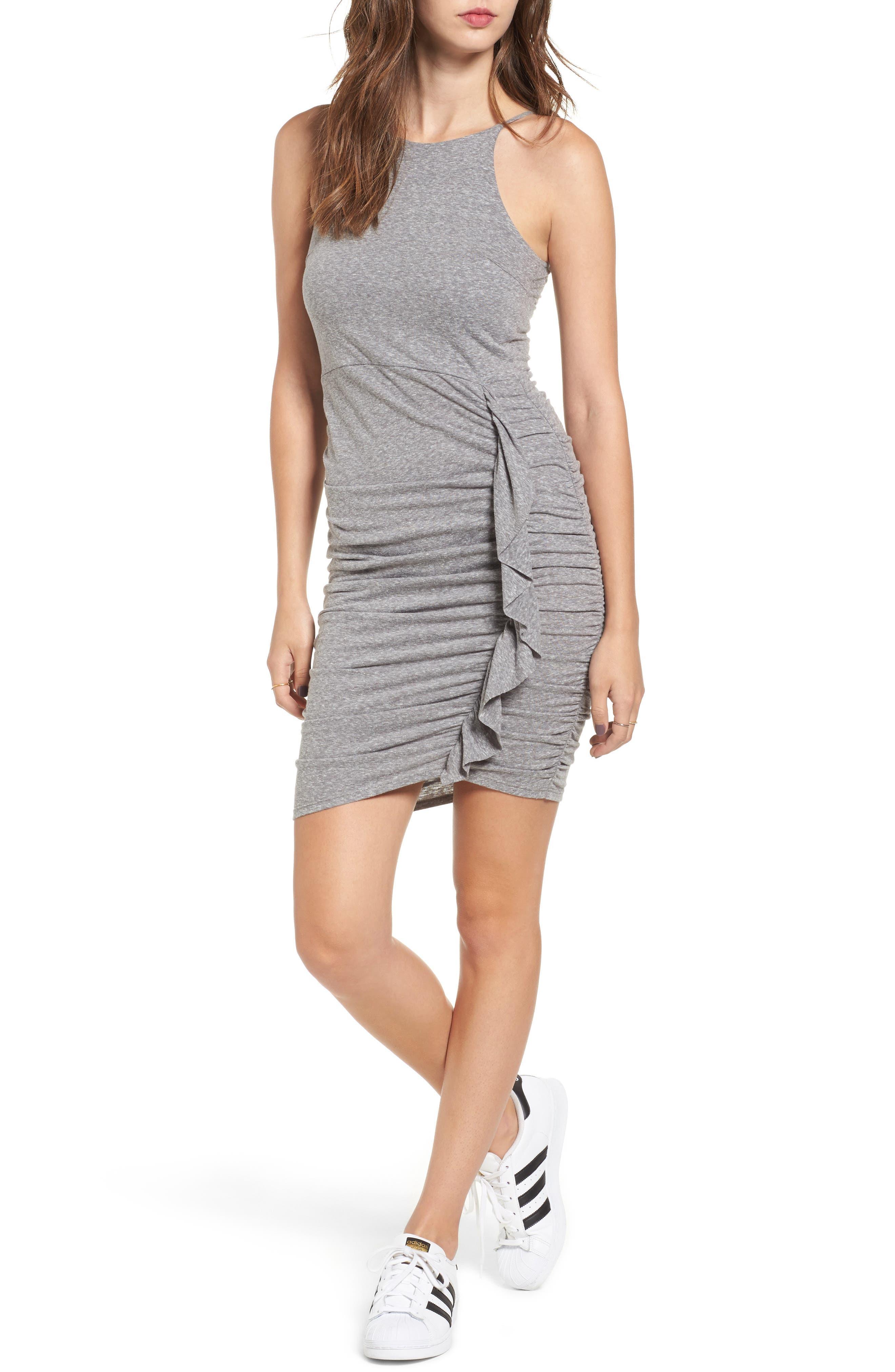 Gathered Front Body-Con Dress,                             Main thumbnail 1, color,                             004 H. Grey