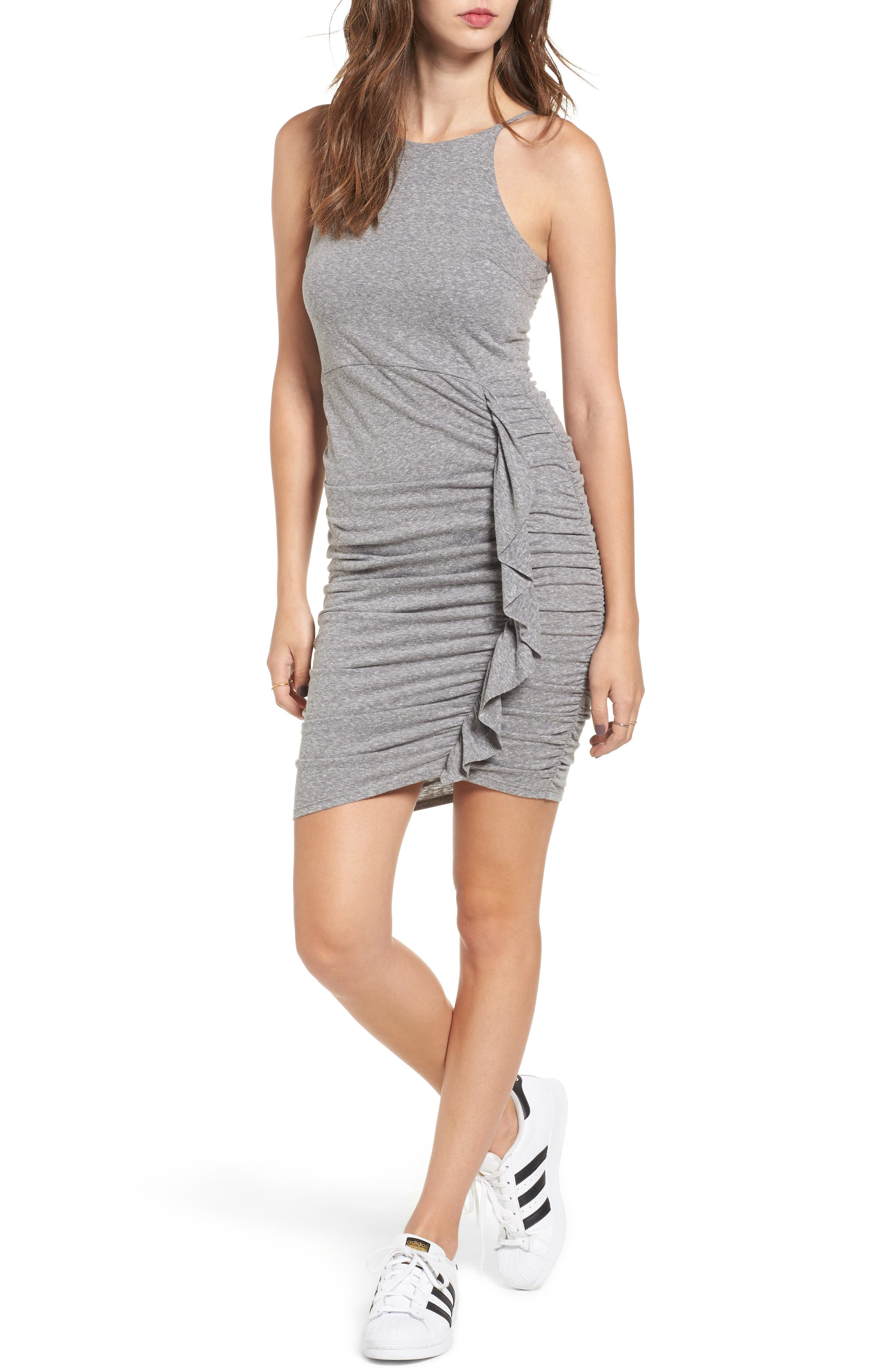 Gathered Front Body-Con Dress,                         Main,                         color, 004 H. Grey