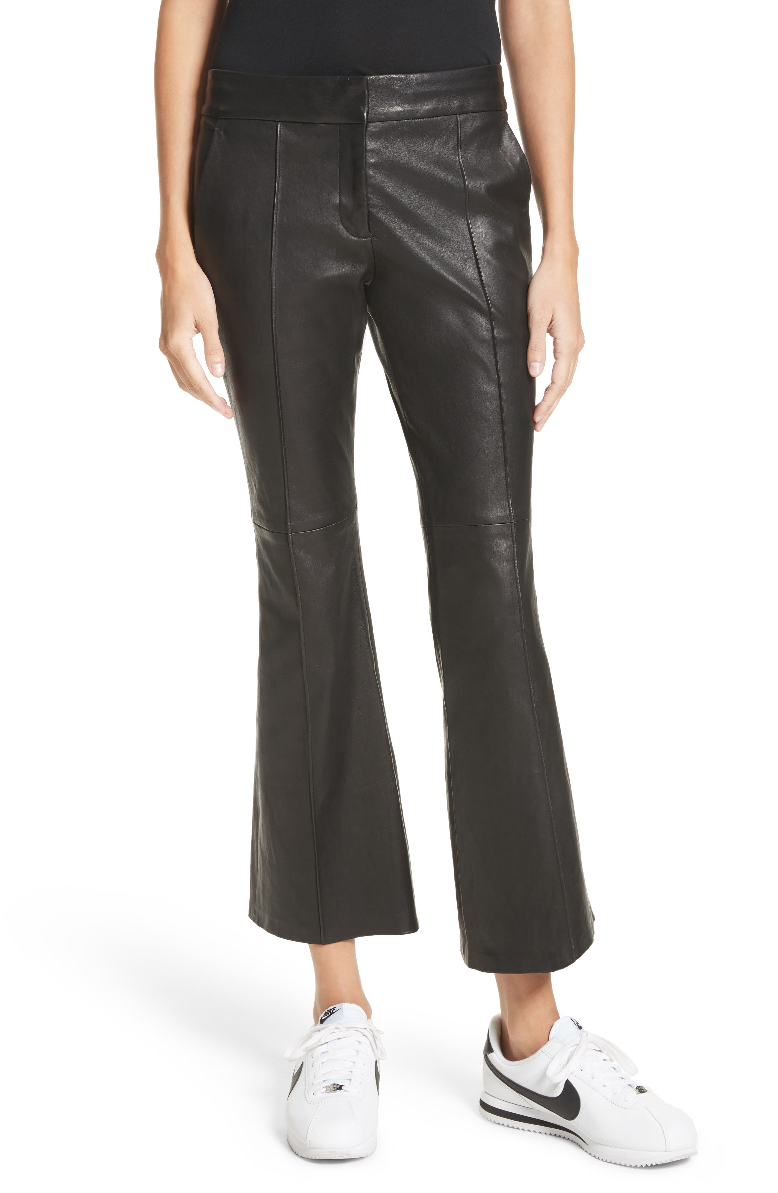 Evan Lambskin Leather Flare Crop Pants,                         Main,                         color, Black