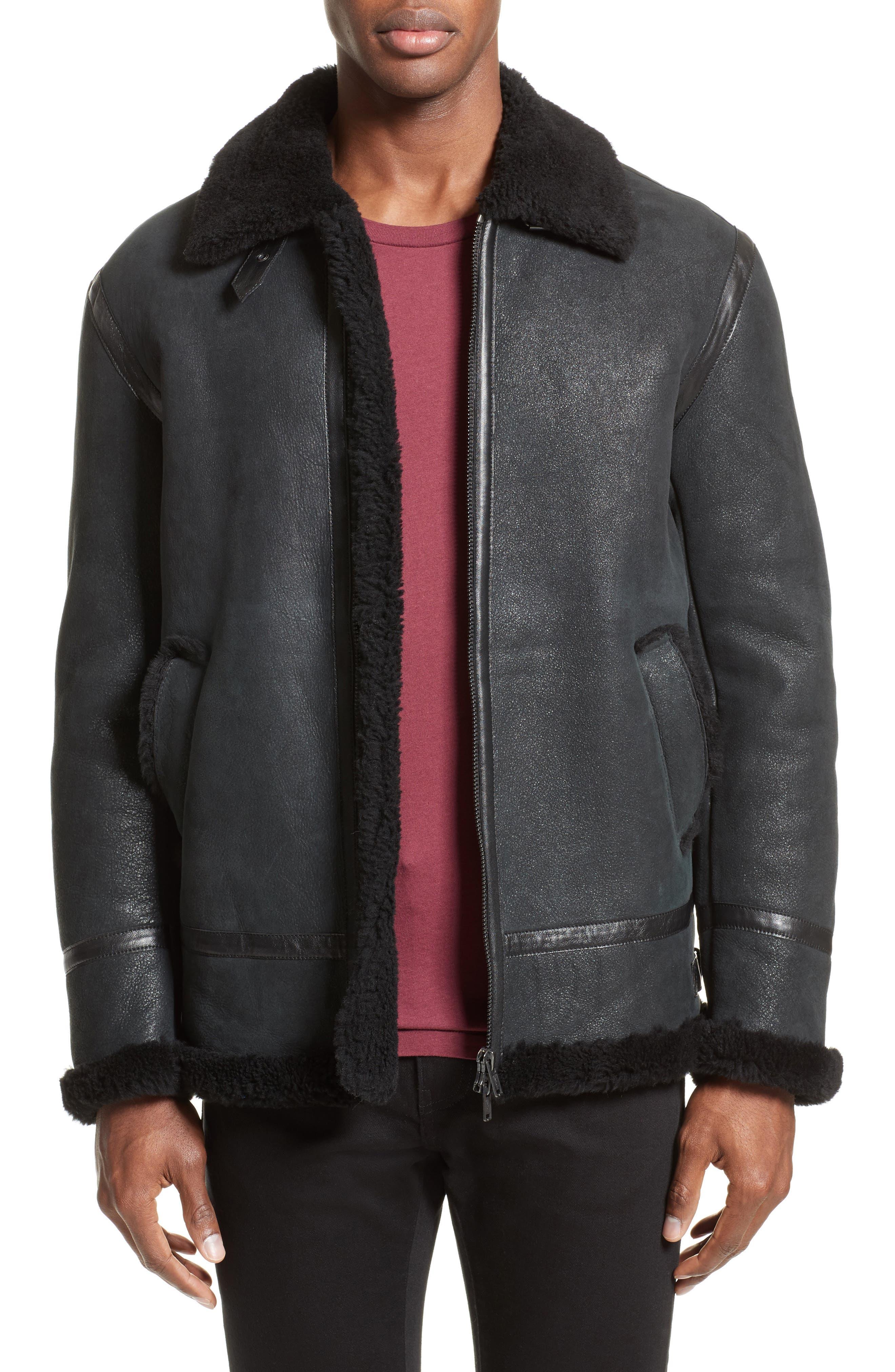 Lamb Shearling Jacket,                         Main,                         color, Black