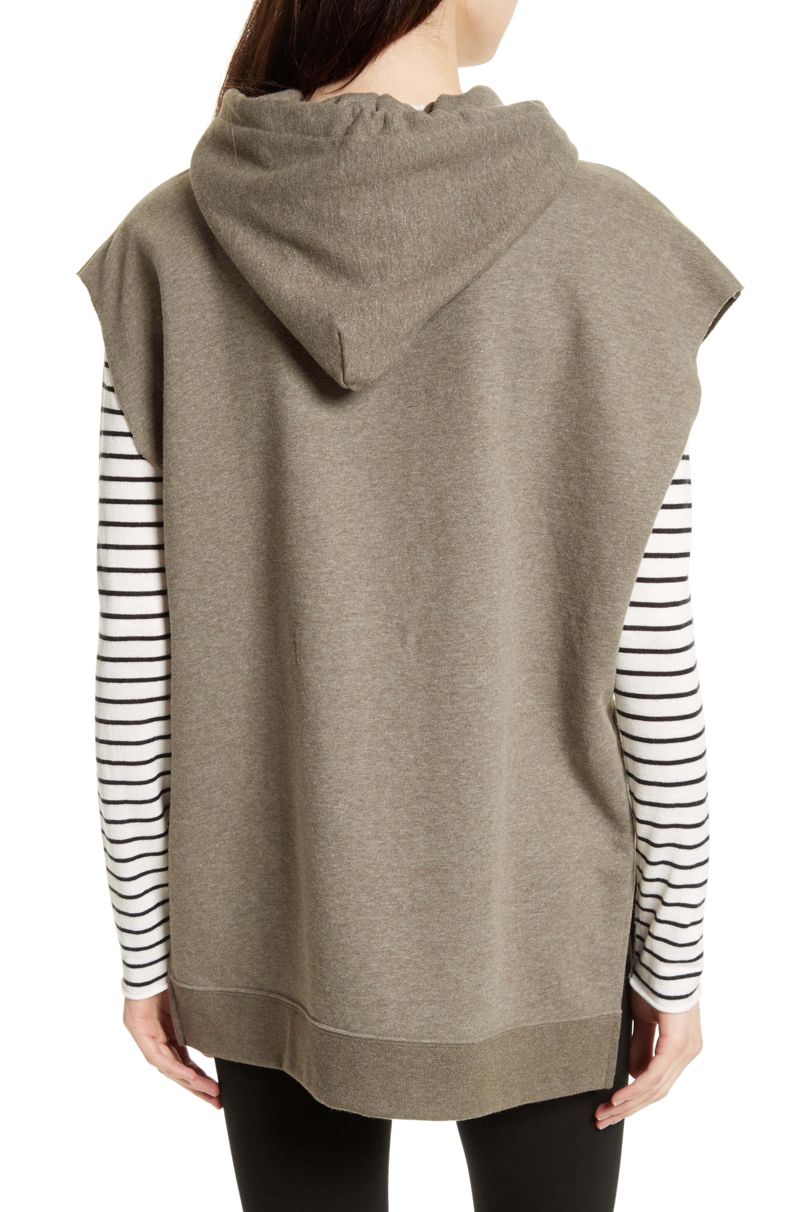 Sleeveless Hoodie,                             Alternate thumbnail 3, color,                             Olive