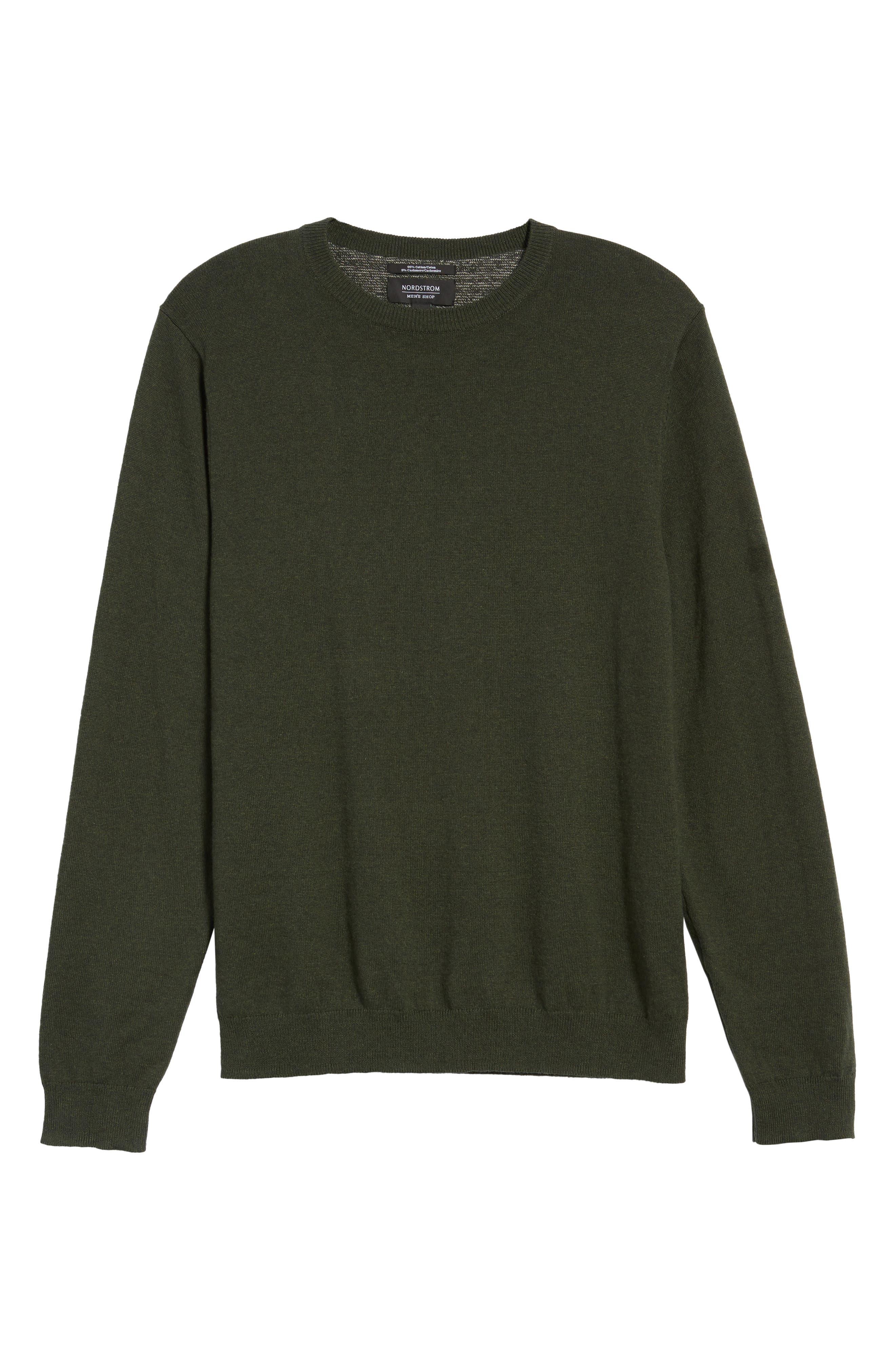 Cotton & Cashmere Crewneck Sweater,                             Alternate thumbnail 6, color,                             Green Deep Pine