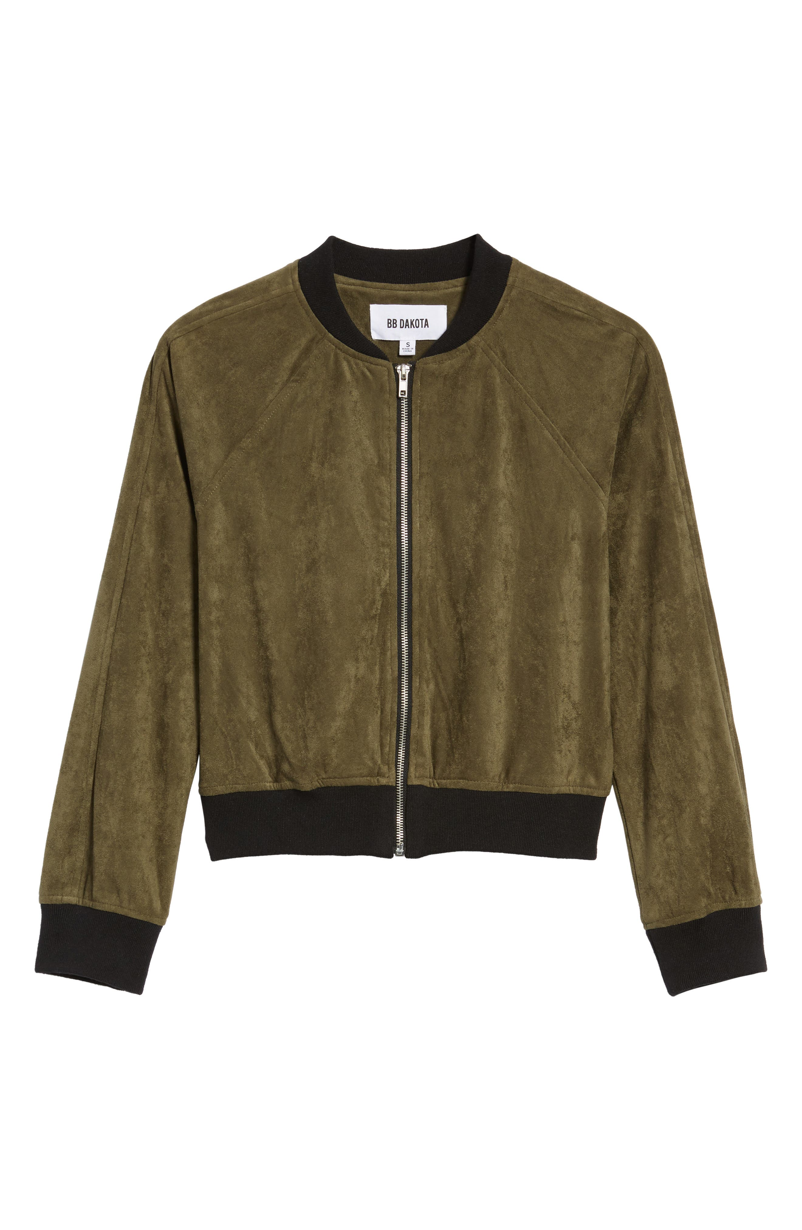 Ellie Faux Suede Bomber Jacket,                             Alternate thumbnail 6, color,                             Sage