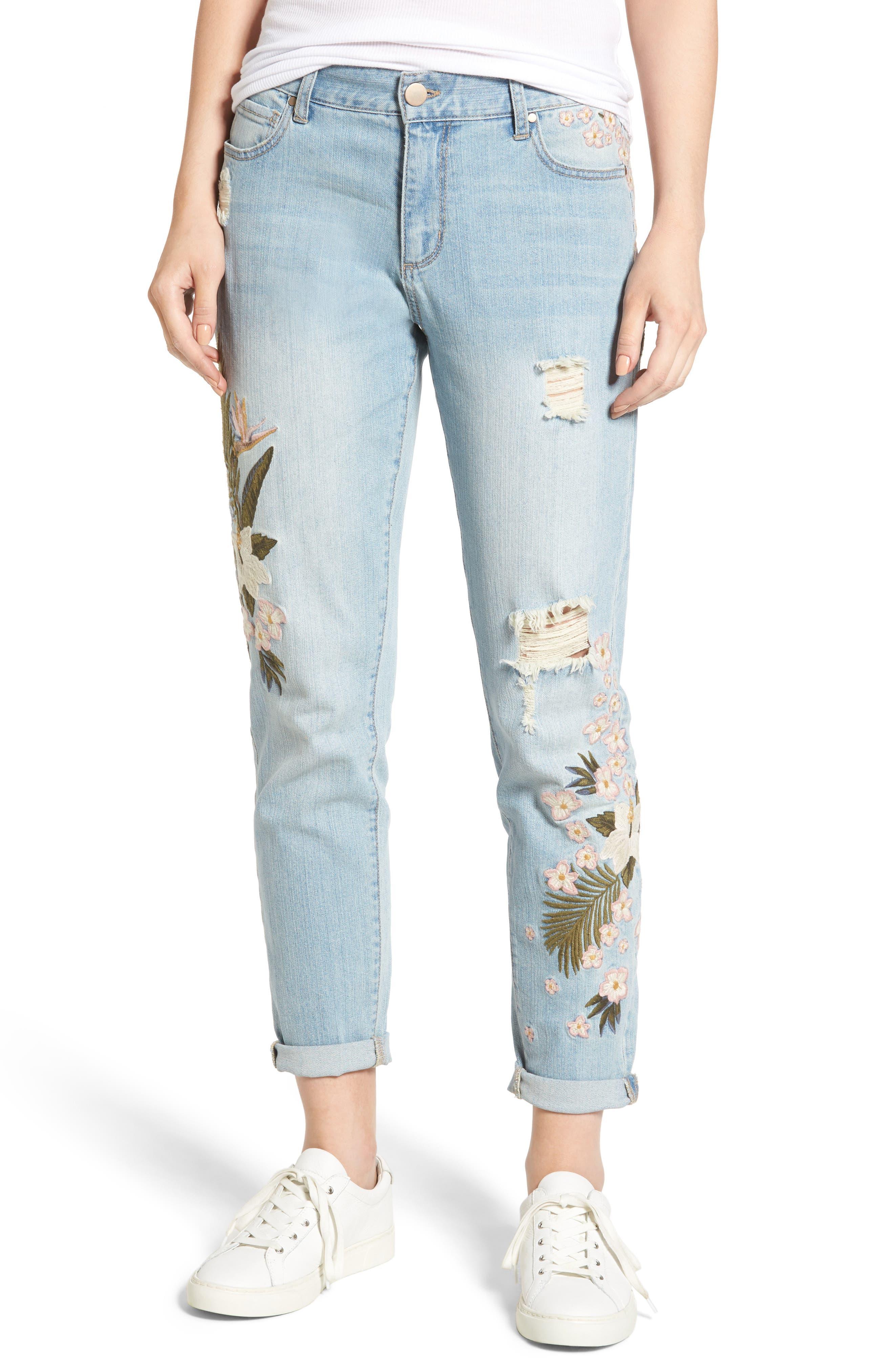 Floral Embroidered Boyfriend Jeans,                         Main,                         color, Light Wash