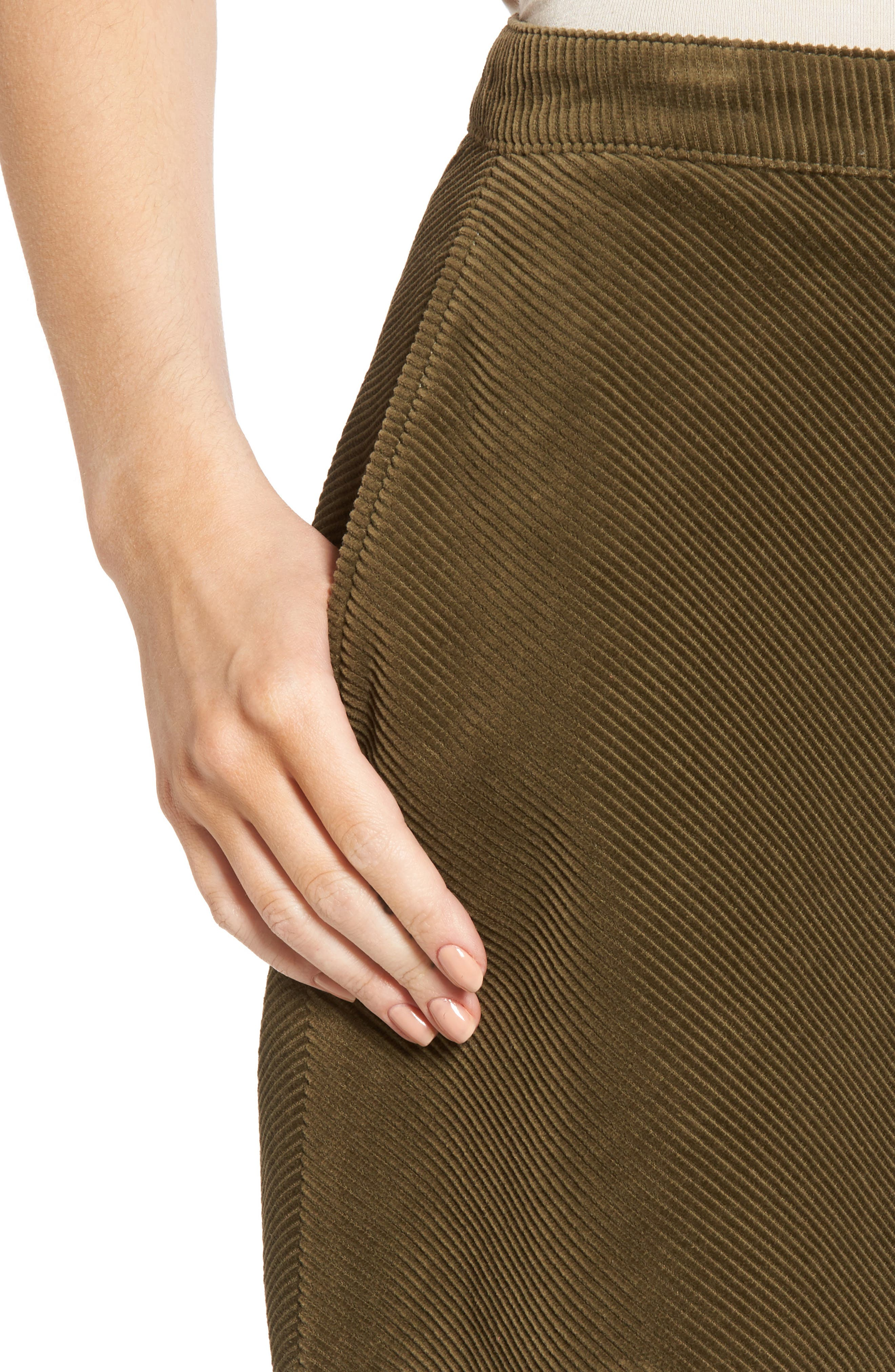 Corduroy A-Line Miniskirt,                             Alternate thumbnail 4, color,                             Olive Dark