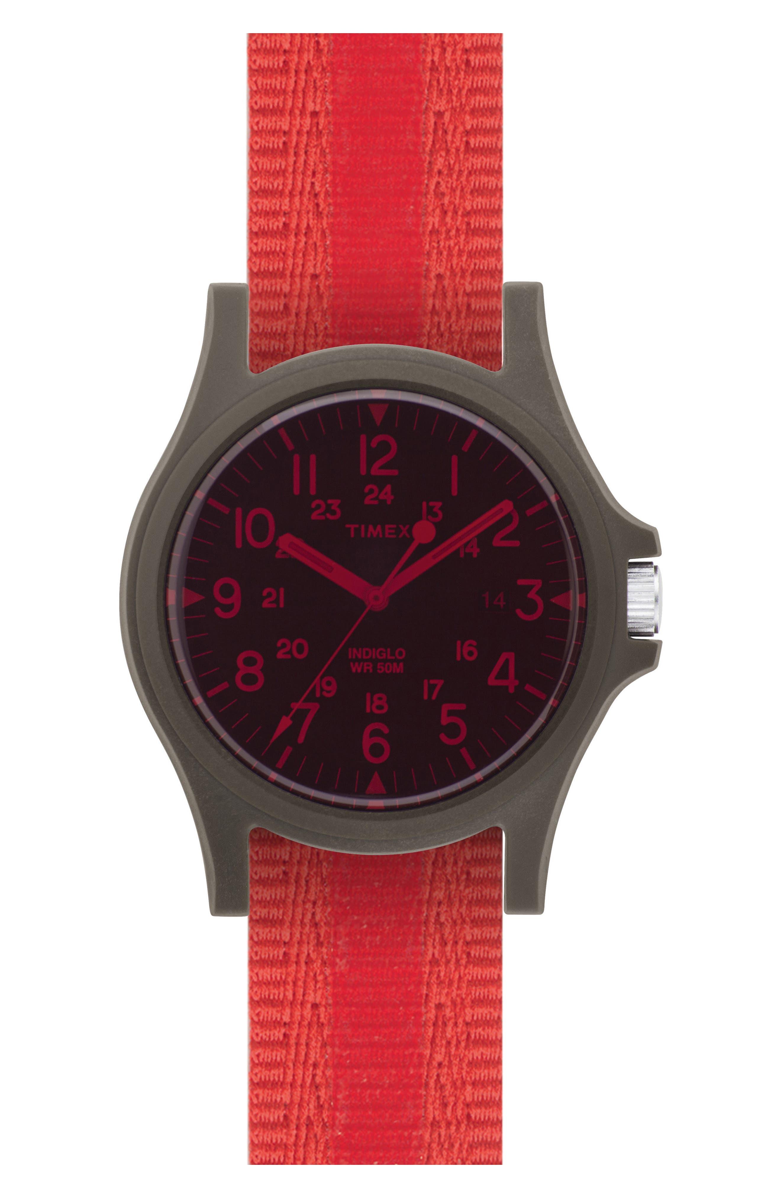 Acadia NATO Strap Watch, 40mm,                         Main,                         color, Black/ Coral Red / Rubber Film