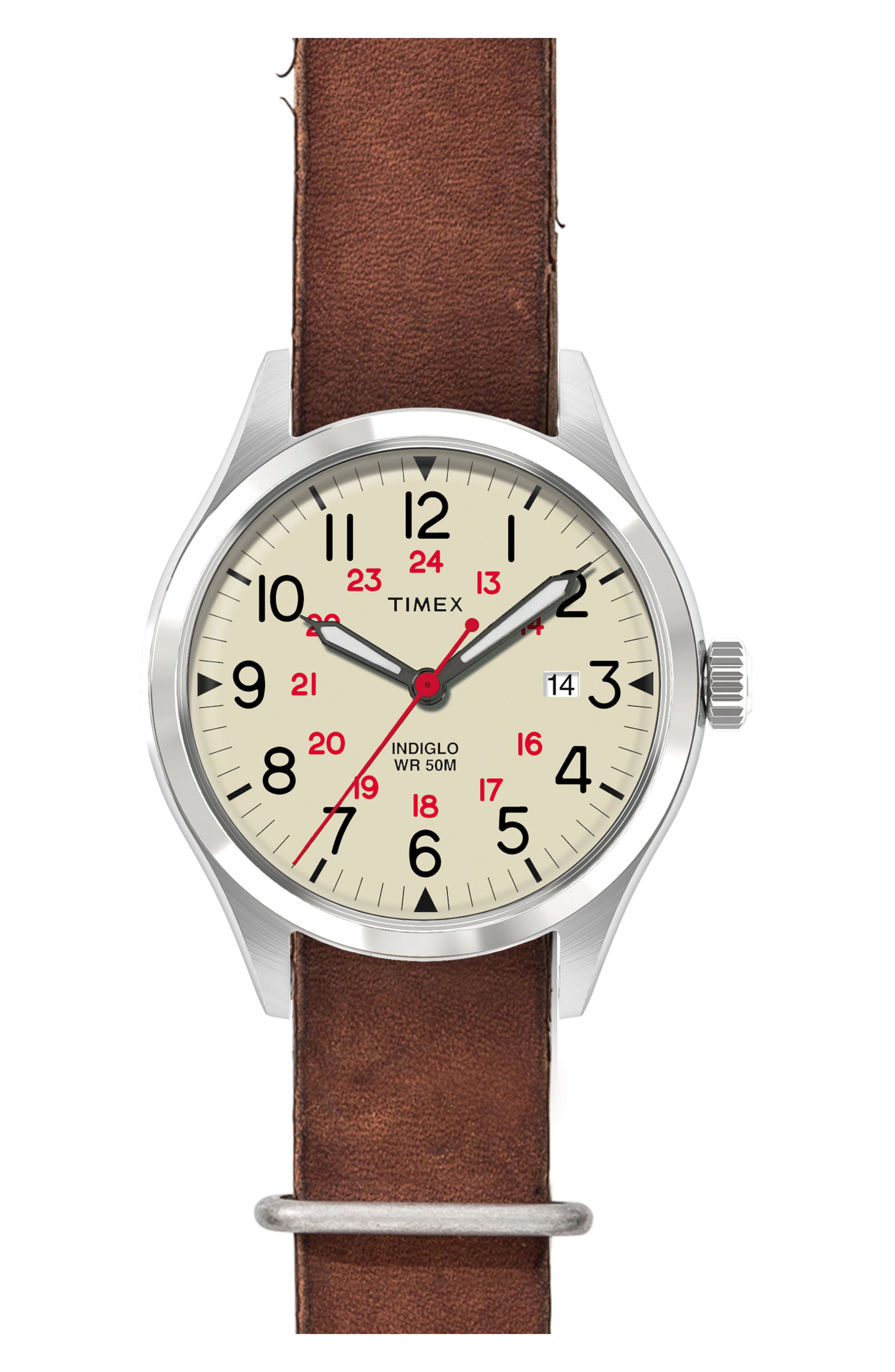 Timex<sup>®</sup> Waterbury United Leather Strap Watch, 38mm,                             Main thumbnail 1, color,                             Cream/ Brown Washed Leather