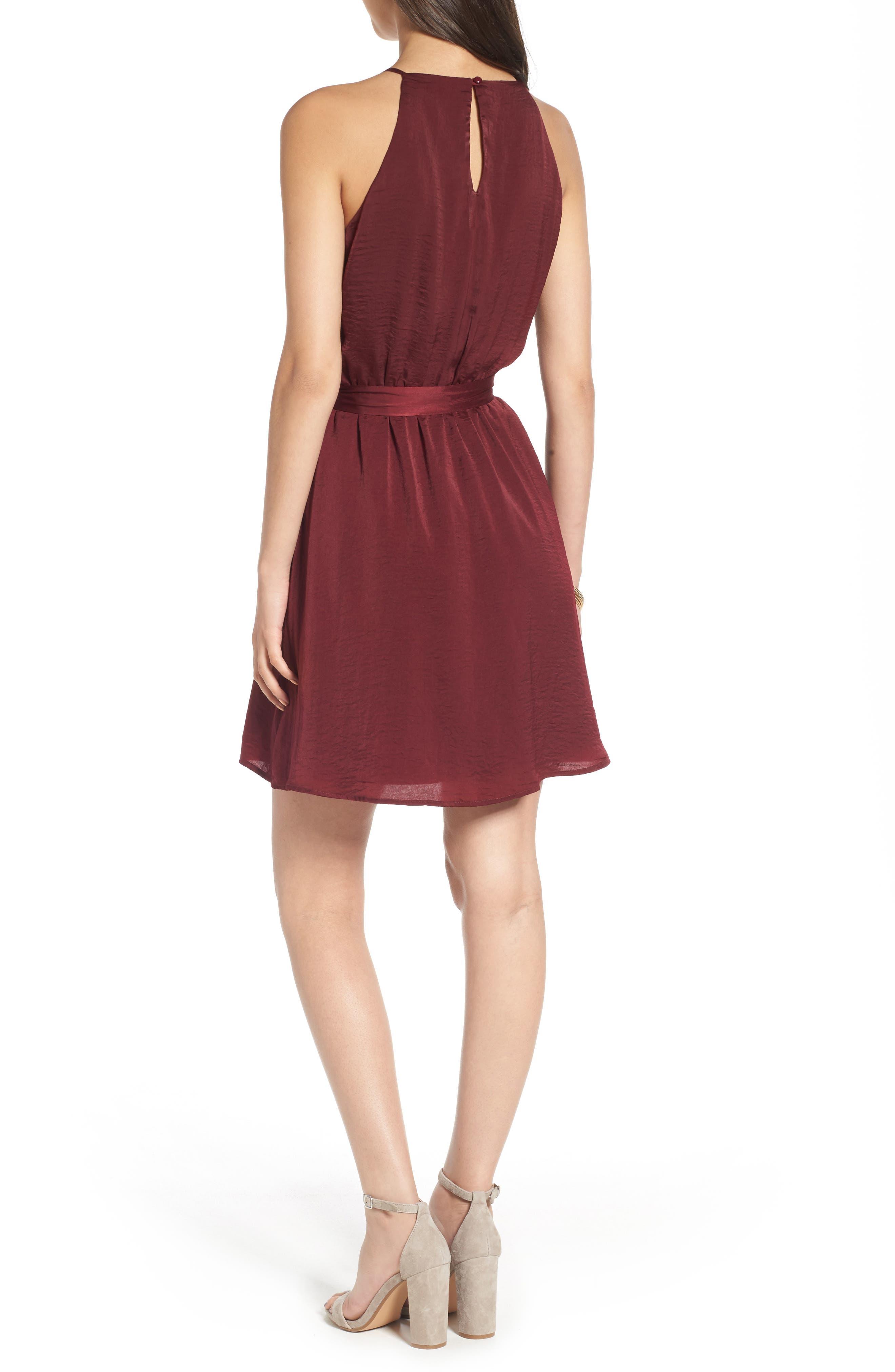 As You Wish Tie Waist Dress,                             Alternate thumbnail 2, color,                             Wine