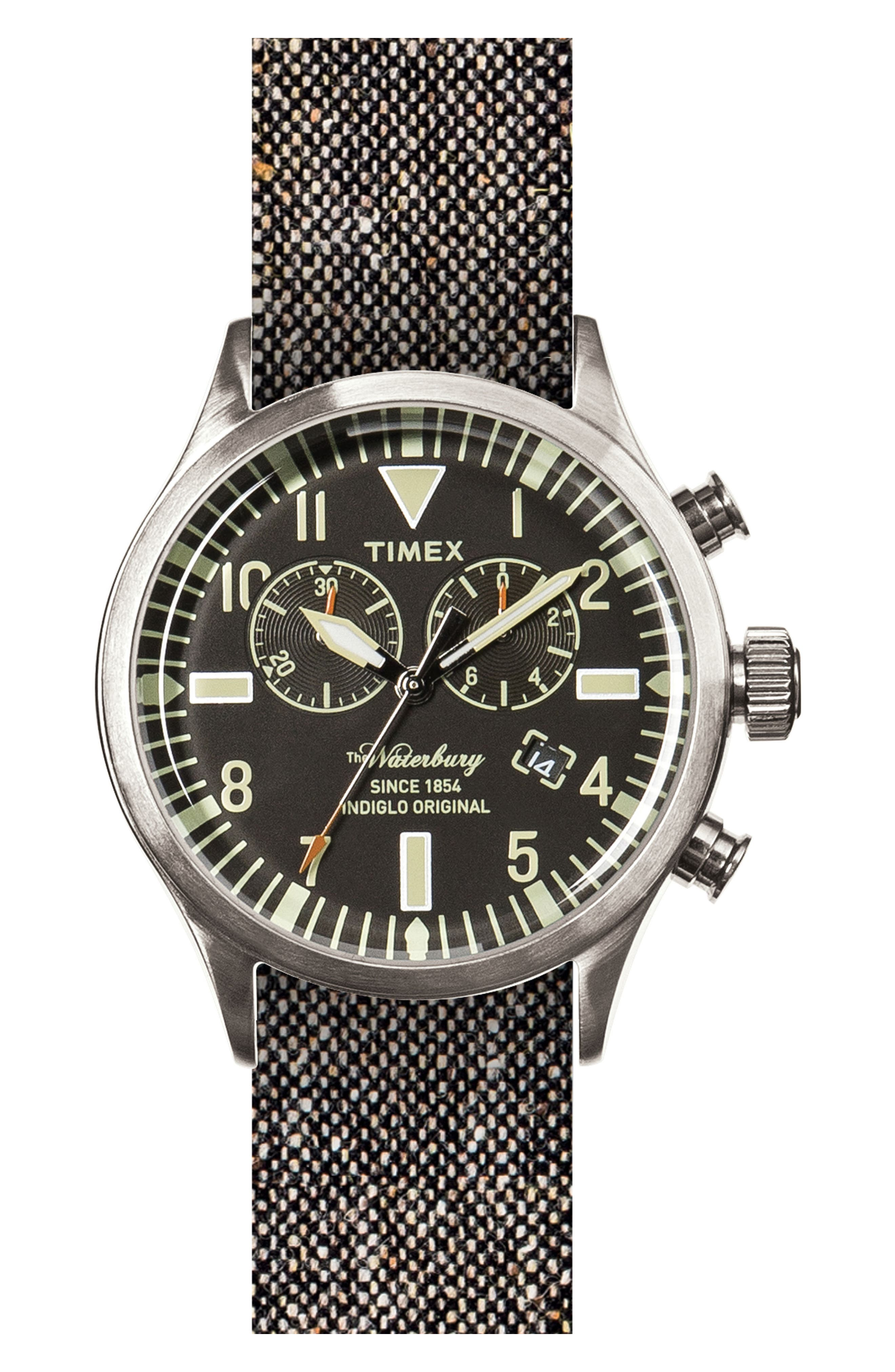 TIMEX<SUP>®</SUP> ARCHIVE Timex<sup>®</sup> Waterbury Chronograph Fabric Strap Watch, 42mm