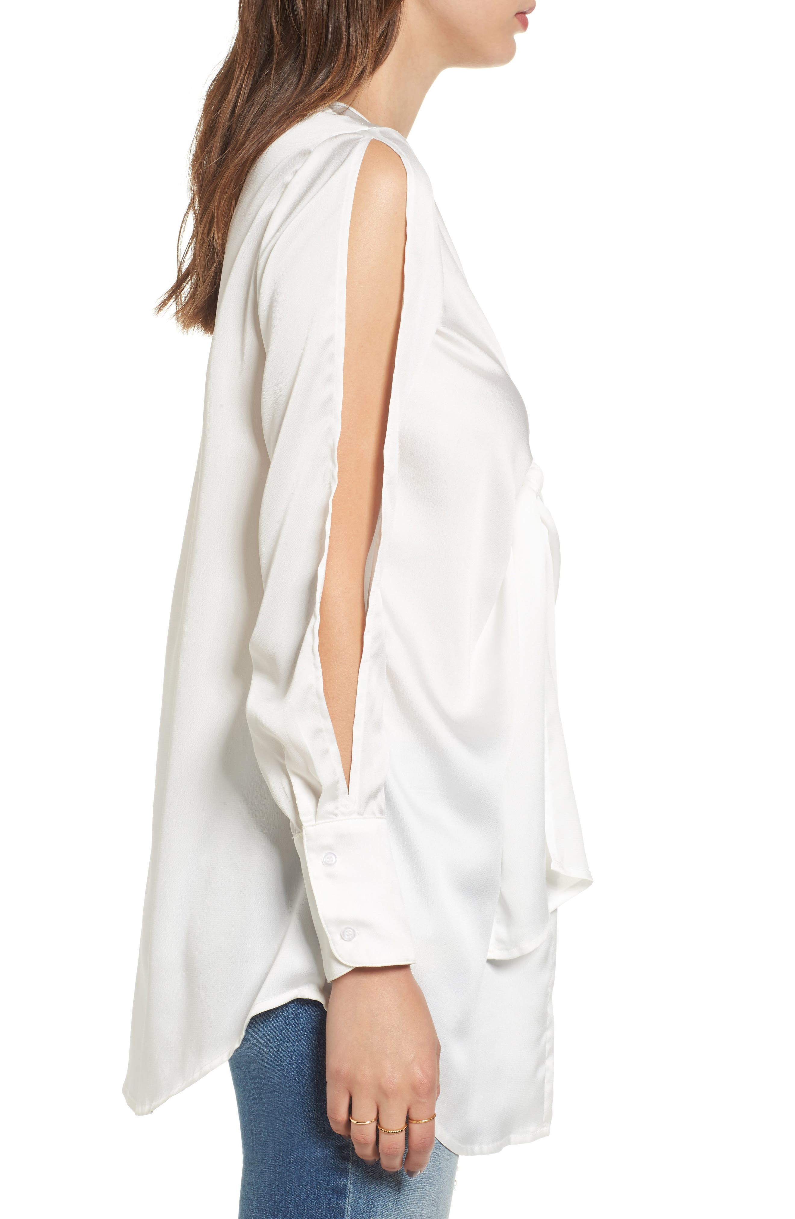 Knotted Hammered Satin Blouse,                             Alternate thumbnail 4, color,                             Ivory