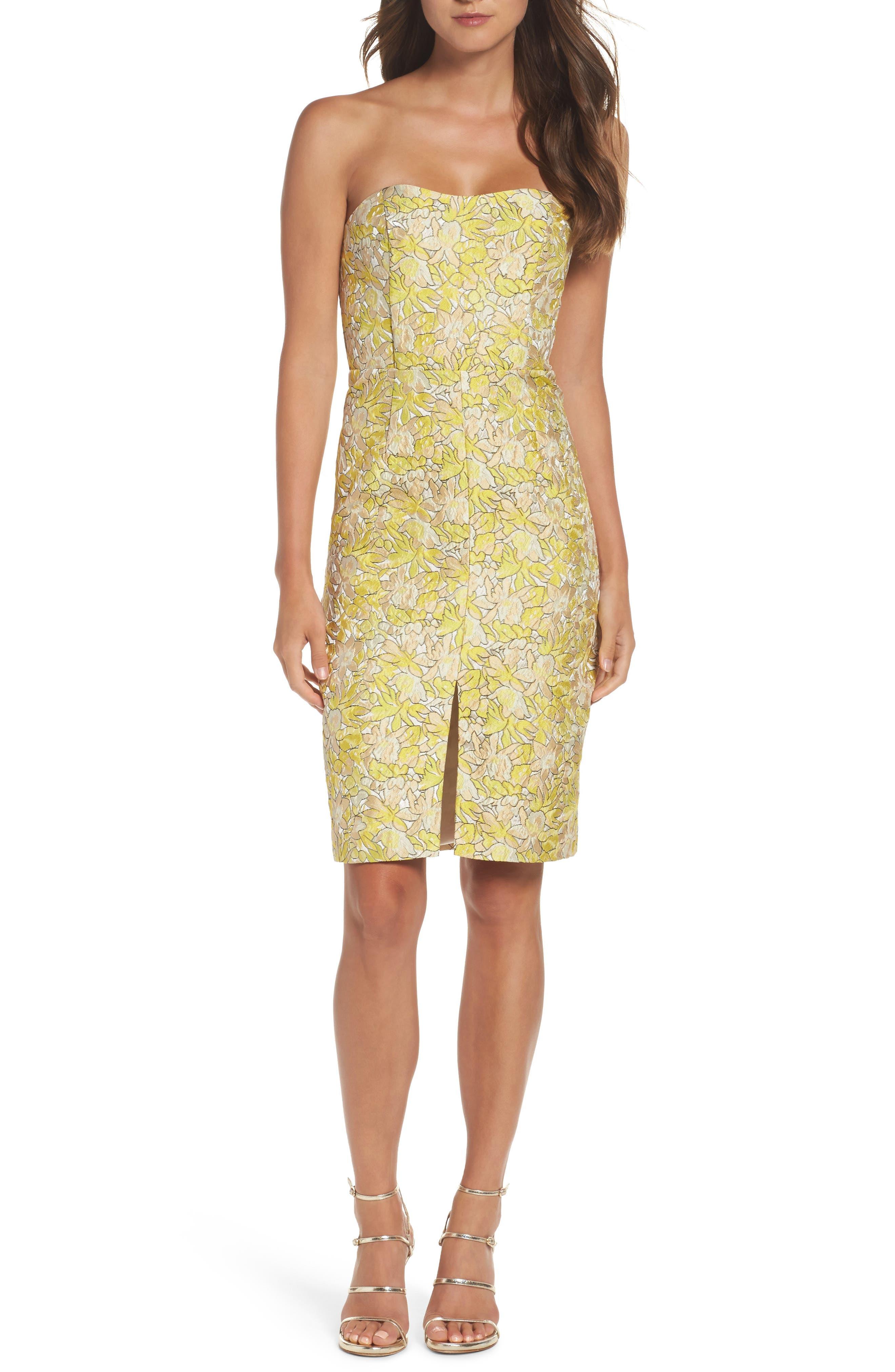 Gretta Strapless Jacquard Sheath Dress,                         Main,                         color, Limoncello